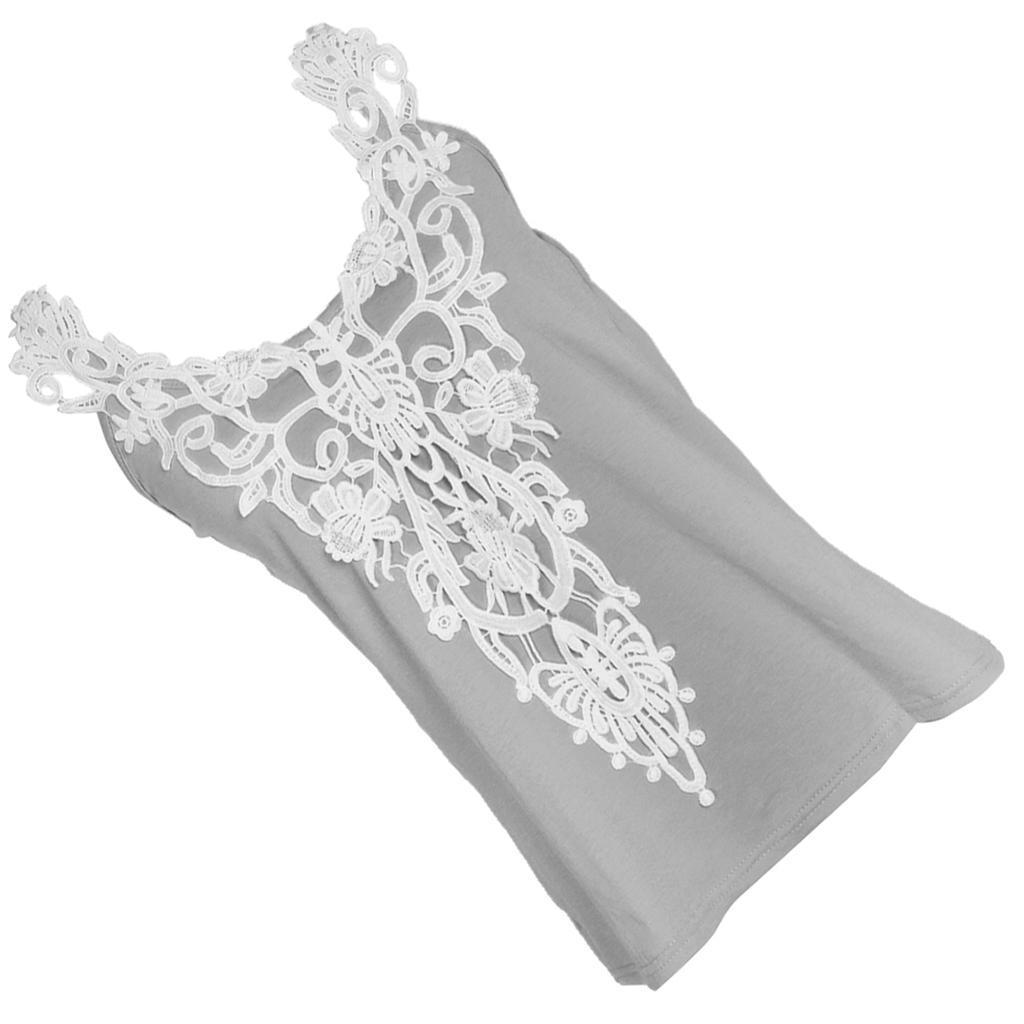 Fashion-Women-Lace-Vest-Top-Tank-Casual-Blouse-Top-Sleeveless-T-Shirt-Gray-S-5XL thumbnail 5
