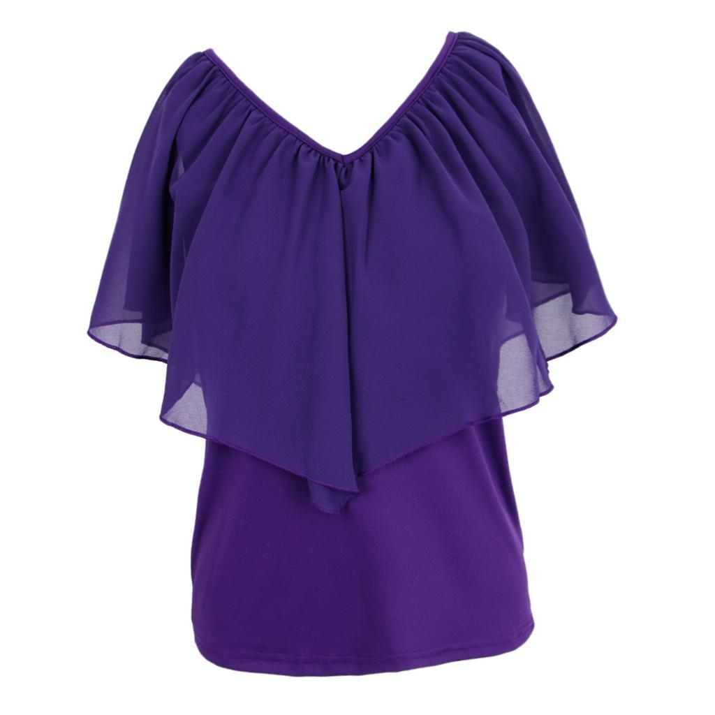 Women-039-s-Casual-Summer-Cold-Shoulder-Cotton-T-shirt-Batwing-Sleeve-Loose-Tops thumbnail 24