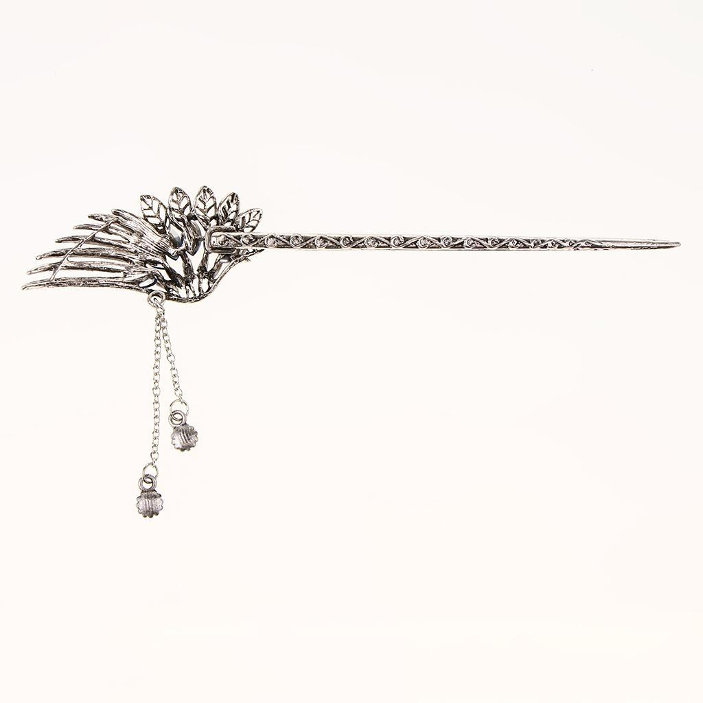 Diamante-Bead-Dangle-Hair-Stick-Chopstick-Feather-Hairpin-Chignon-Pin-Tassel thumbnail 33