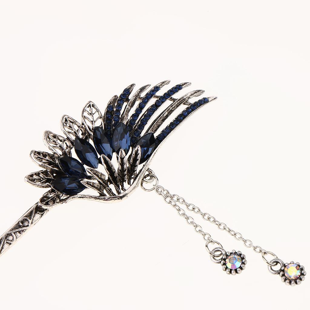 Diamante-Bead-Dangle-Hair-Stick-Chopstick-Feather-Hairpin-Chignon-Pin-Tassel thumbnail 30