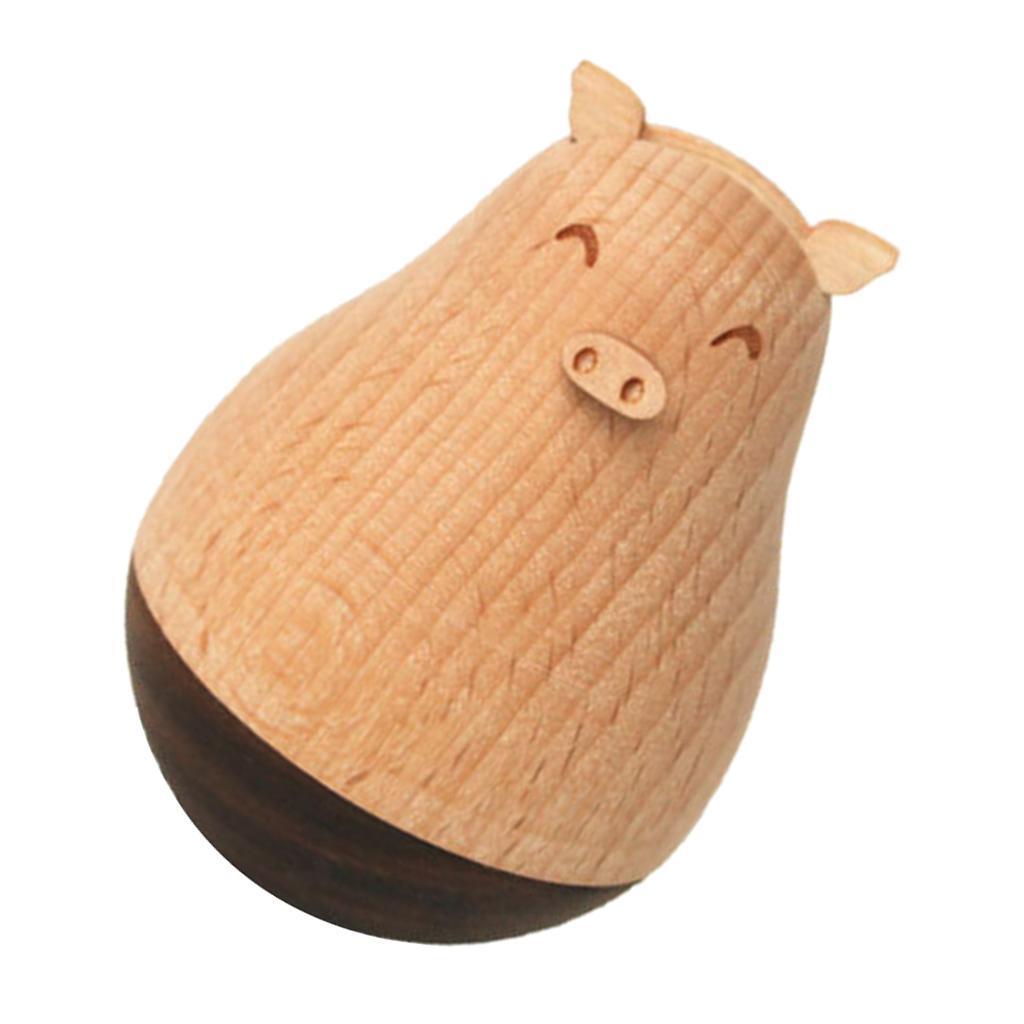 Wooden-Tumbler-Craft-Wood-Animal-Figure-Toy-Office-Desk-Decor-Ornament thumbnail 9