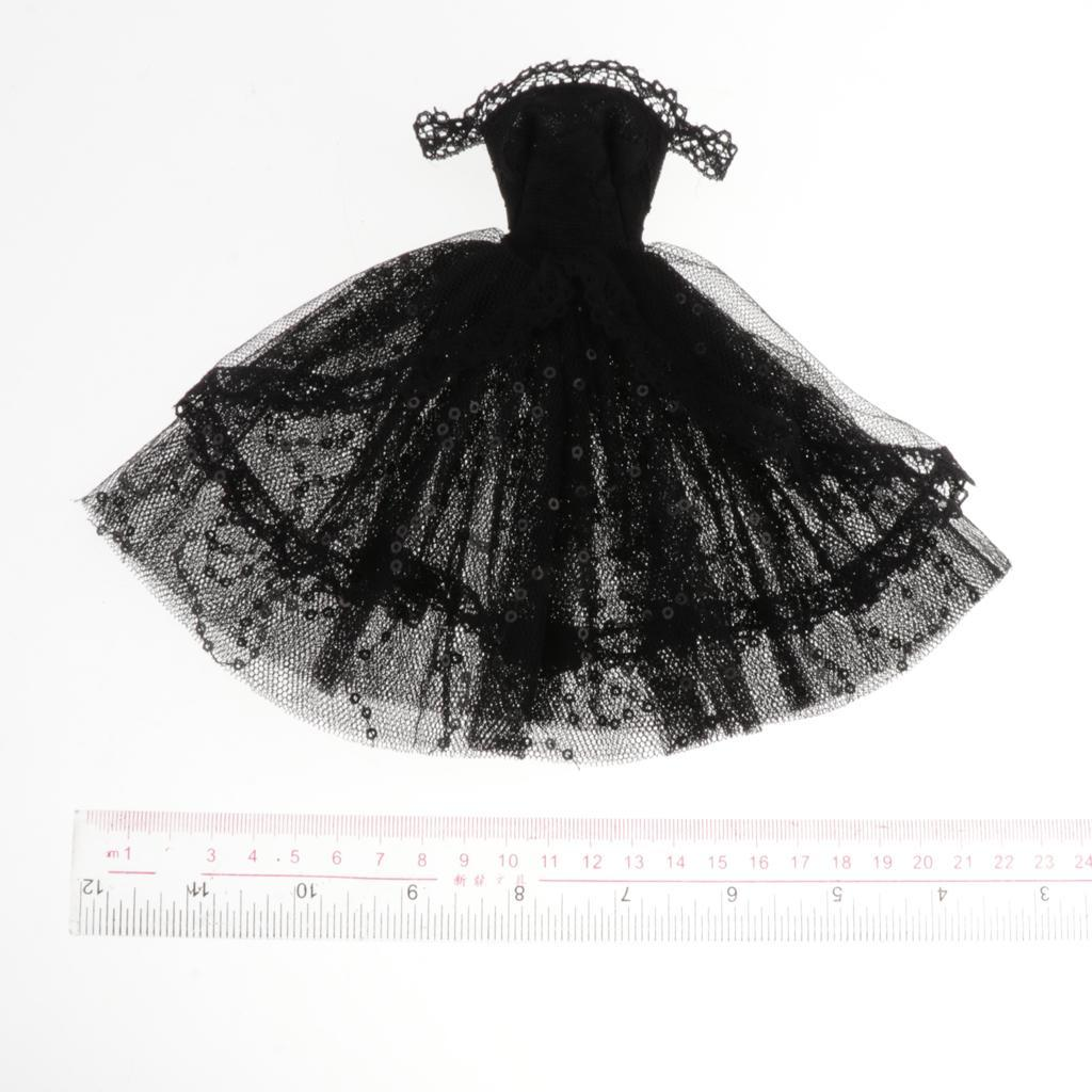 1//6 BJD Off Shoulder Lace Dress for Dollfie SD BB Dress Up Accessories Black