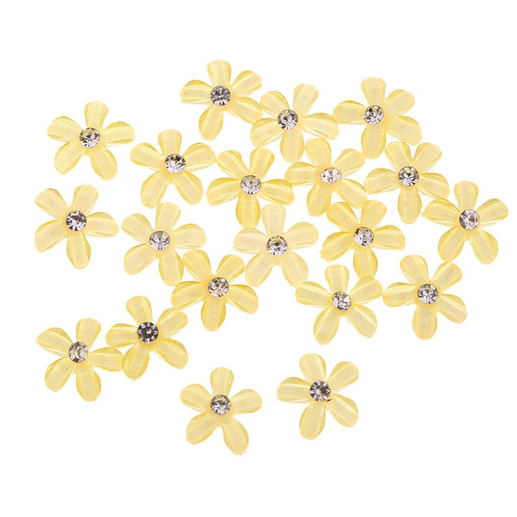 20-pcs-Blumen-Flatback-Perle-Strass-Flatback-Button-Kristall-Verzierung-Handwerk Indexbild 21