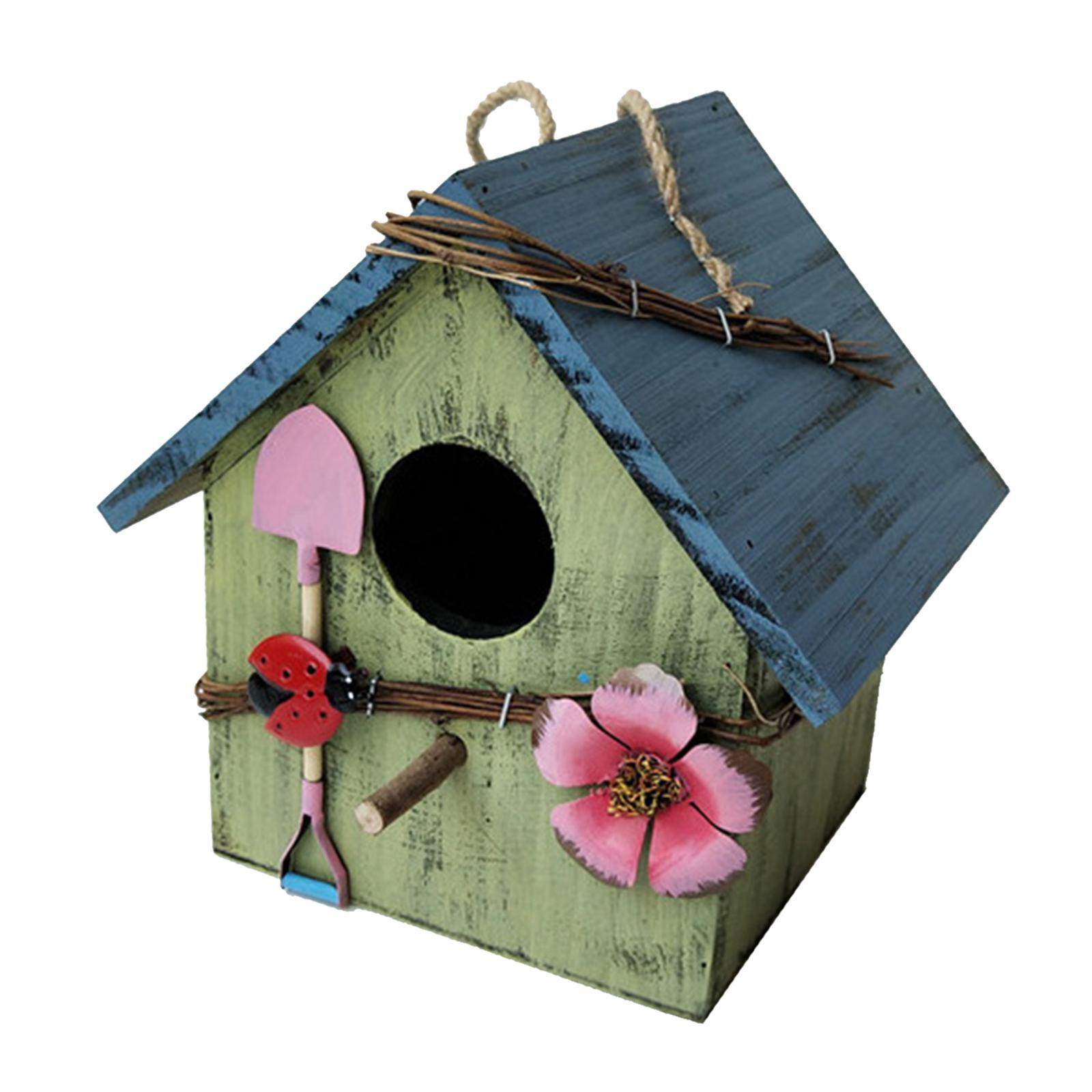 thumbnail 13 - Antique Hand Painted Wood Birdhouse Decorative Outdoor Bird House Garden