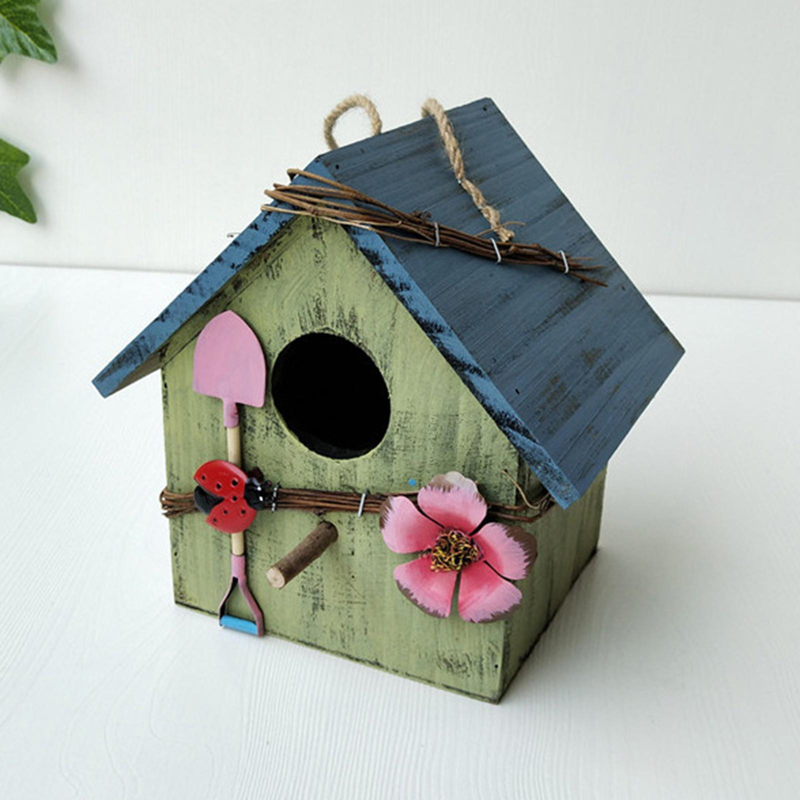 thumbnail 17 - Antique Hand Painted Wood Birdhouse Decorative Outdoor Bird House Garden