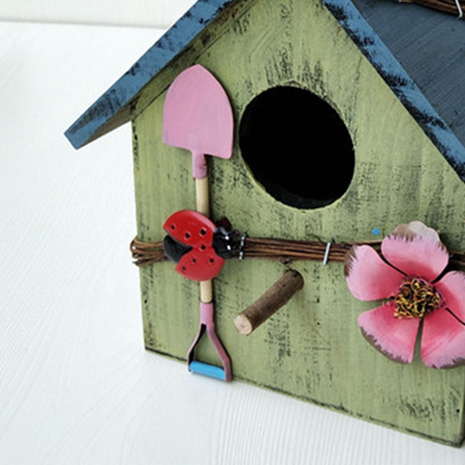 thumbnail 15 - Antique Hand Painted Wood Birdhouse Decorative Outdoor Bird House Garden