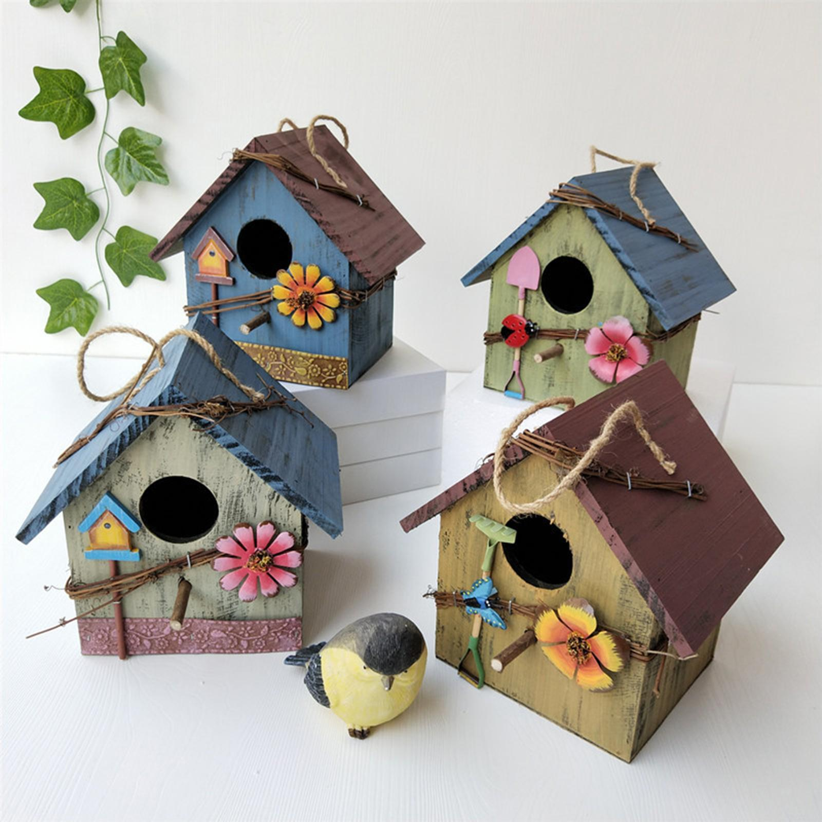 thumbnail 12 - Antique Hand Painted Wood Birdhouse Decorative Outdoor Bird House Garden