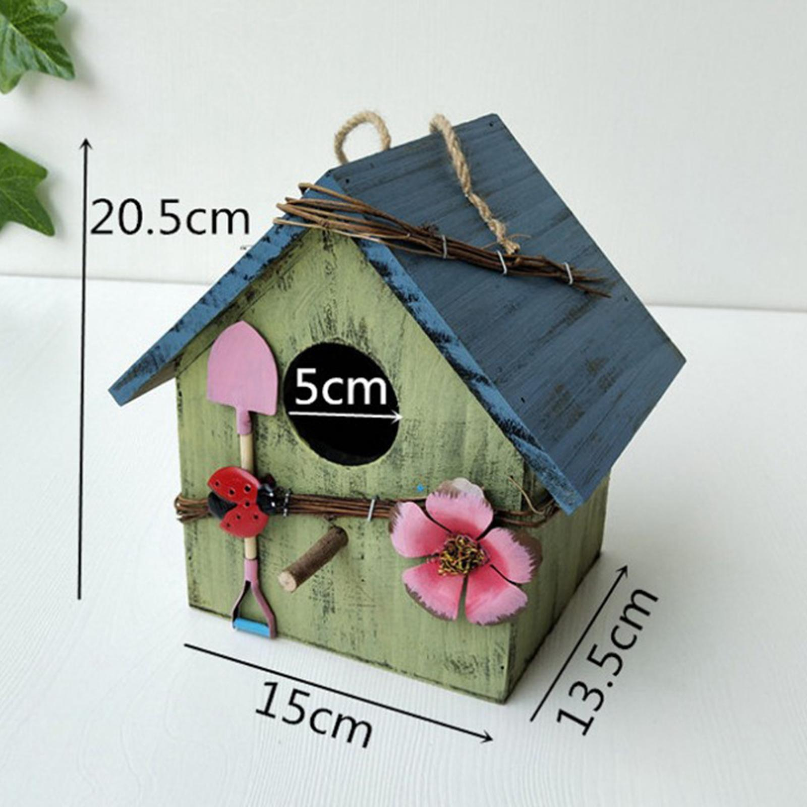 thumbnail 11 - Antique Hand Painted Wood Birdhouse Decorative Outdoor Bird House Garden