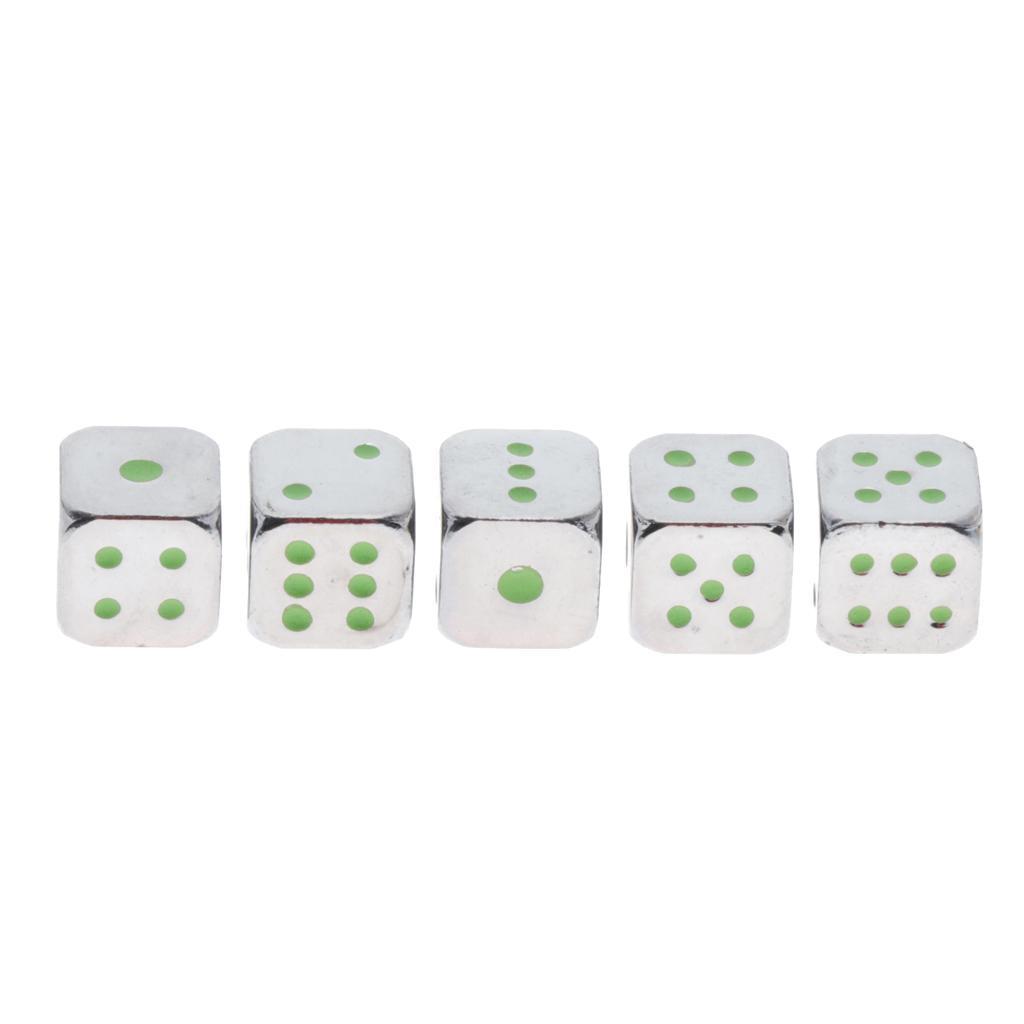 Dadi-In-Metallo-5-Pezzi-D6-Con-Punte-In-Alluminio-Di-Notte-Gioco-Da-Tavolo-Per miniatura 4