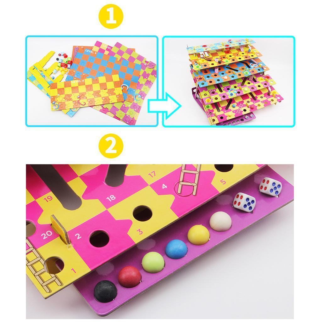 Jeu-de-famille-multiniveaux-serpent-et-echelles-bricolage-pour-amusement miniature 7