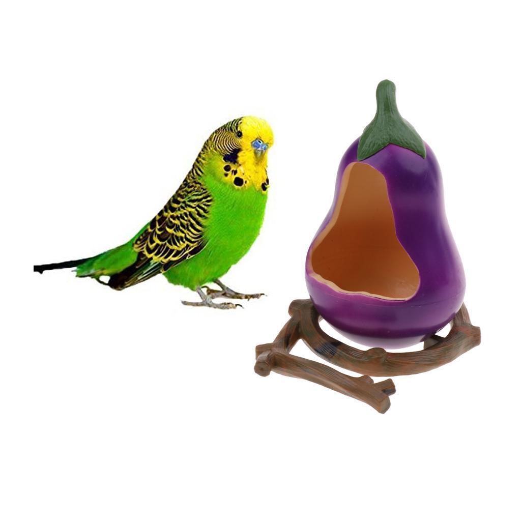 thumbnail 5 - Food Water Plastic Pumpkin Bowl Eggplant Cups Small Parrots Bird Pigeons Cage