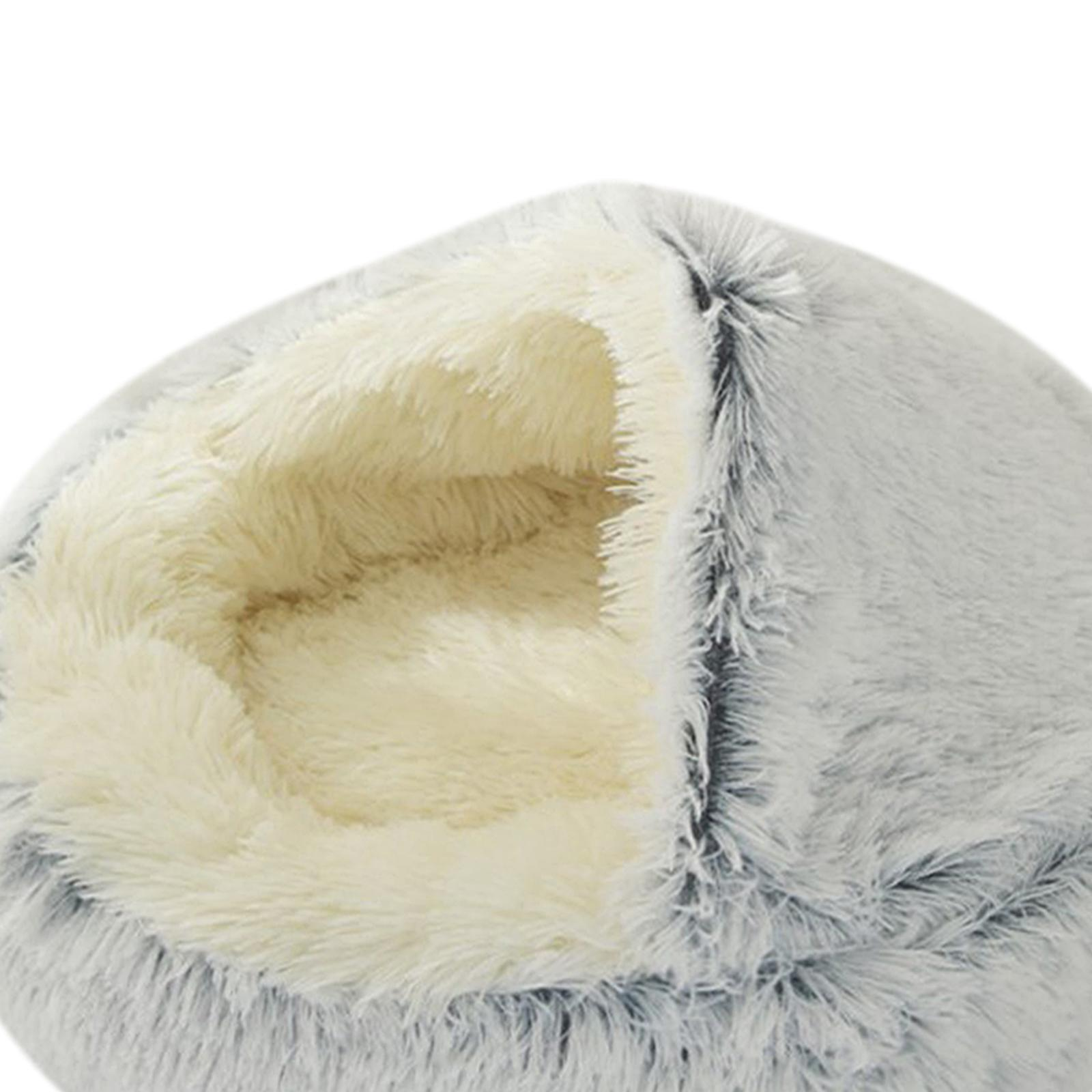 thumbnail 58 - Plush Pet Dog Cat Bed Fluffy Soft Warm Calming Bed Sleeping Kennel Cave Nest