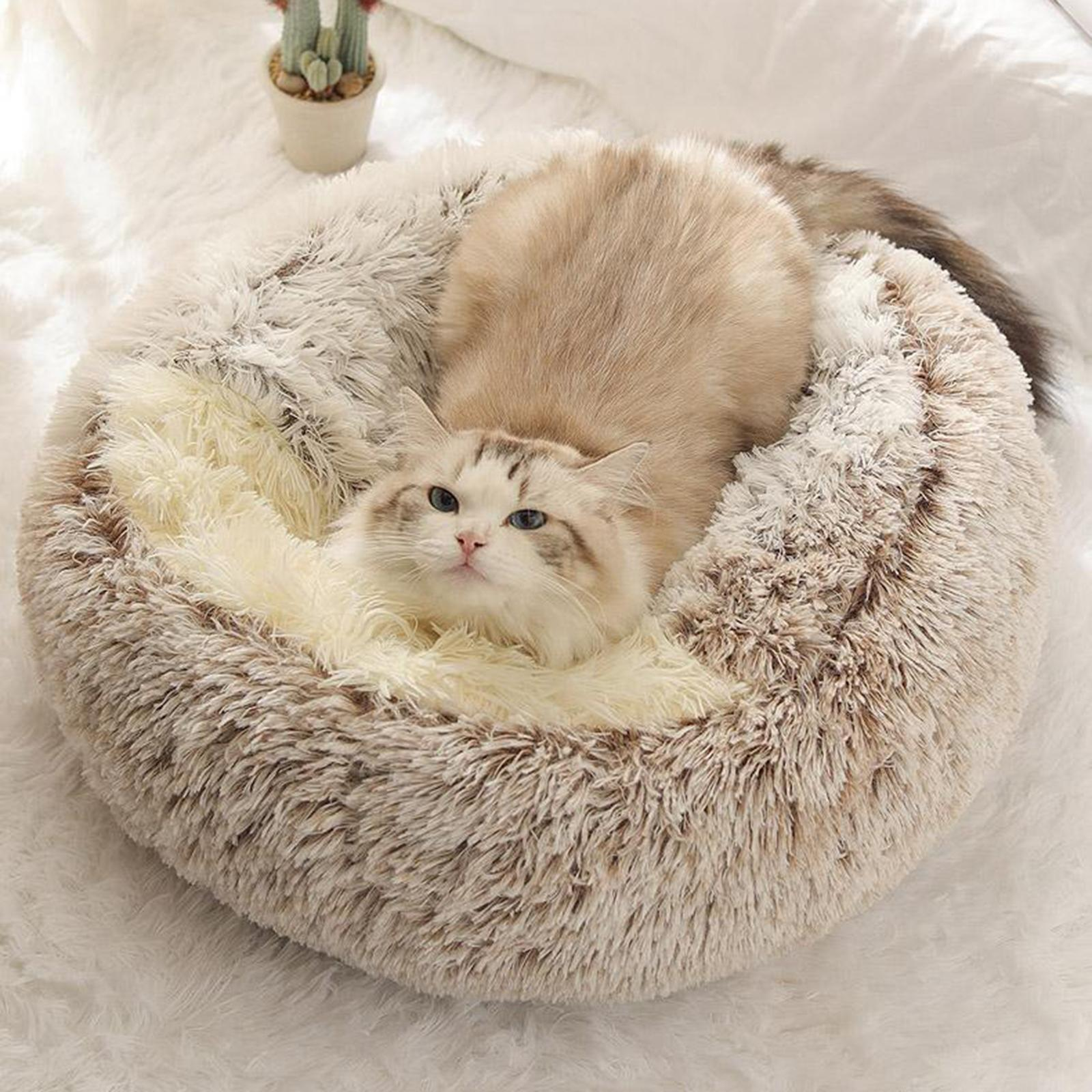thumbnail 56 - Plush Pet Dog Cat Bed Fluffy Soft Warm Calming Bed Sleeping Kennel Cave Nest