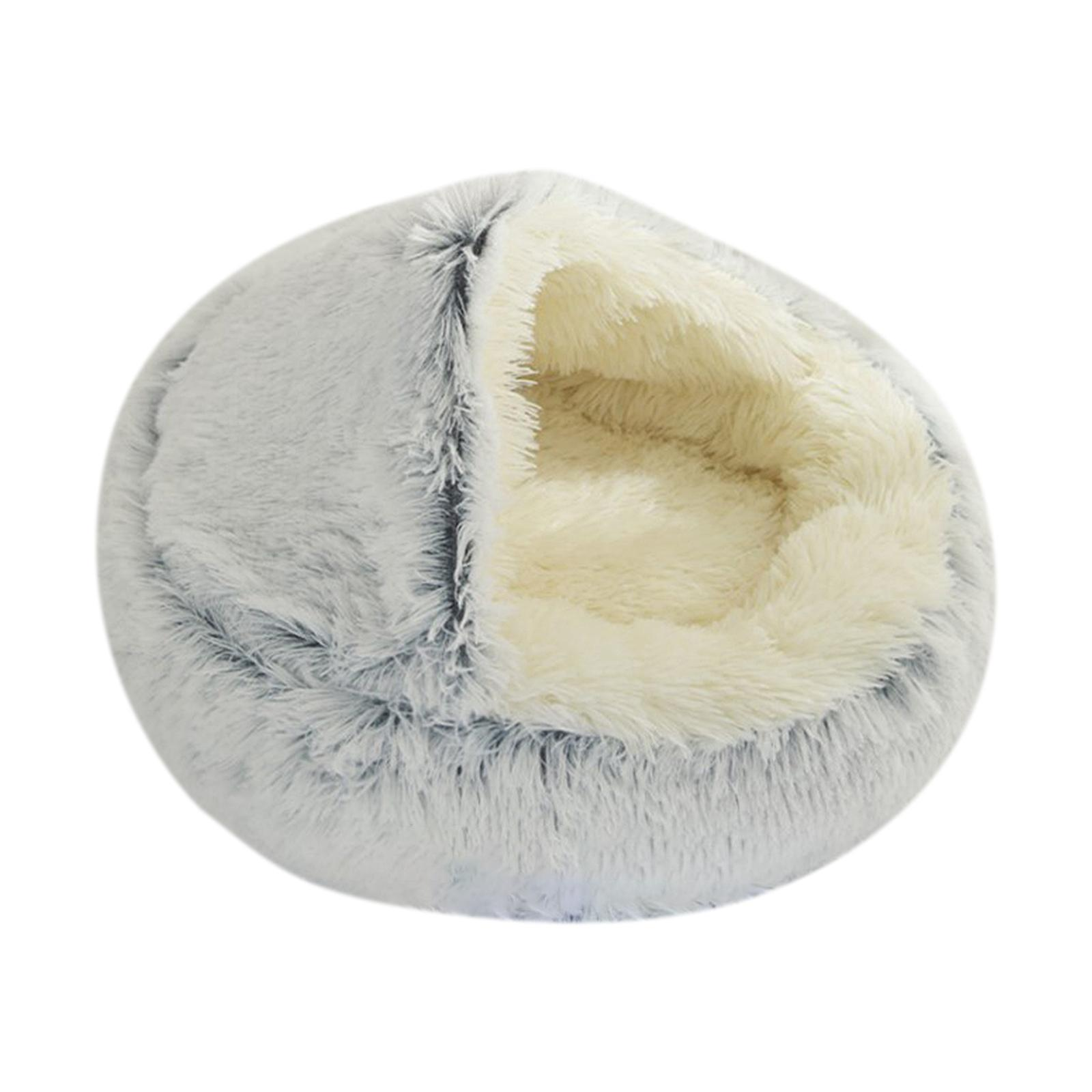 thumbnail 61 - Plush Pet Dog Cat Bed Fluffy Soft Warm Calming Bed Sleeping Kennel Cave Nest