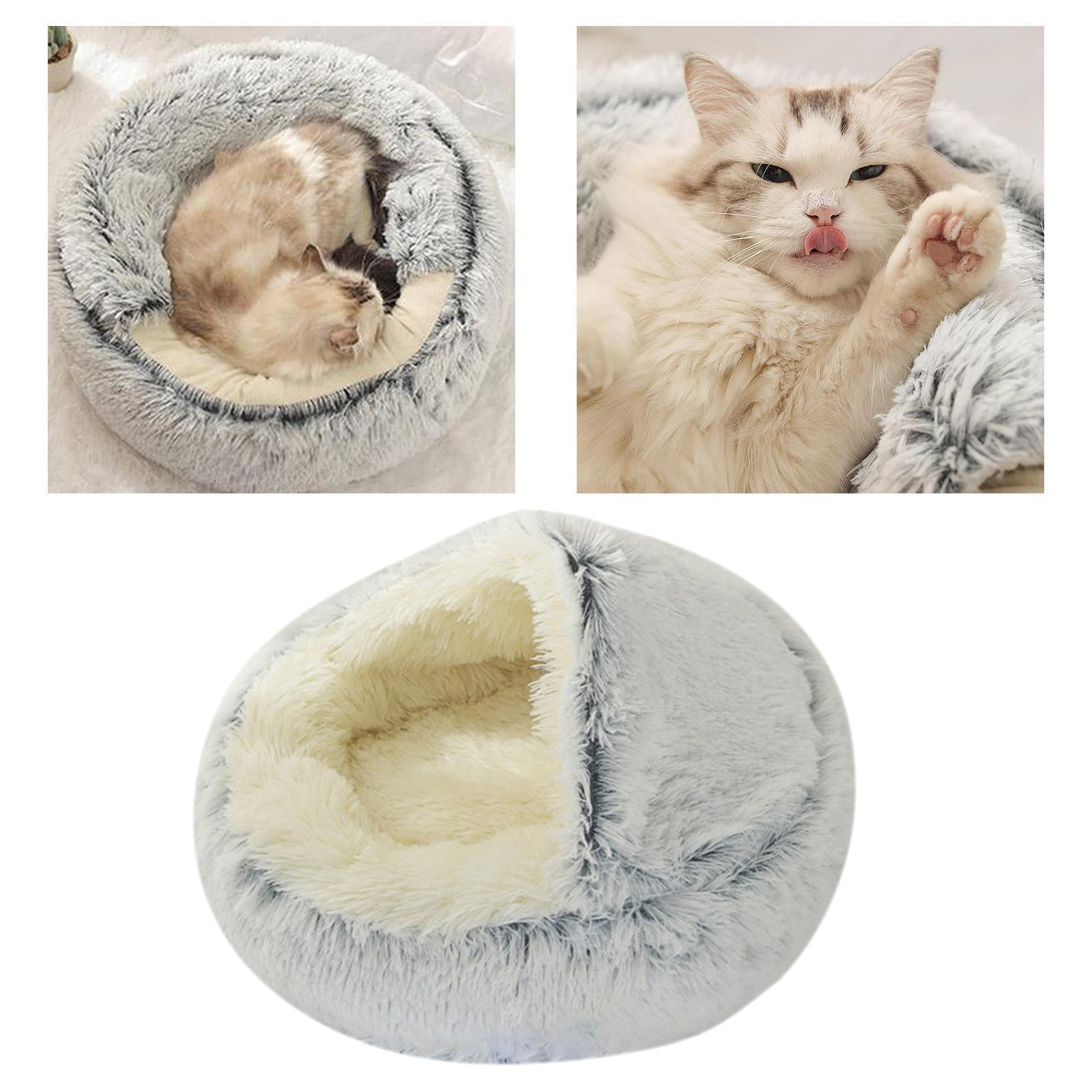 thumbnail 54 - Plush Pet Dog Cat Bed Fluffy Soft Warm Calming Bed Sleeping Kennel Cave Nest