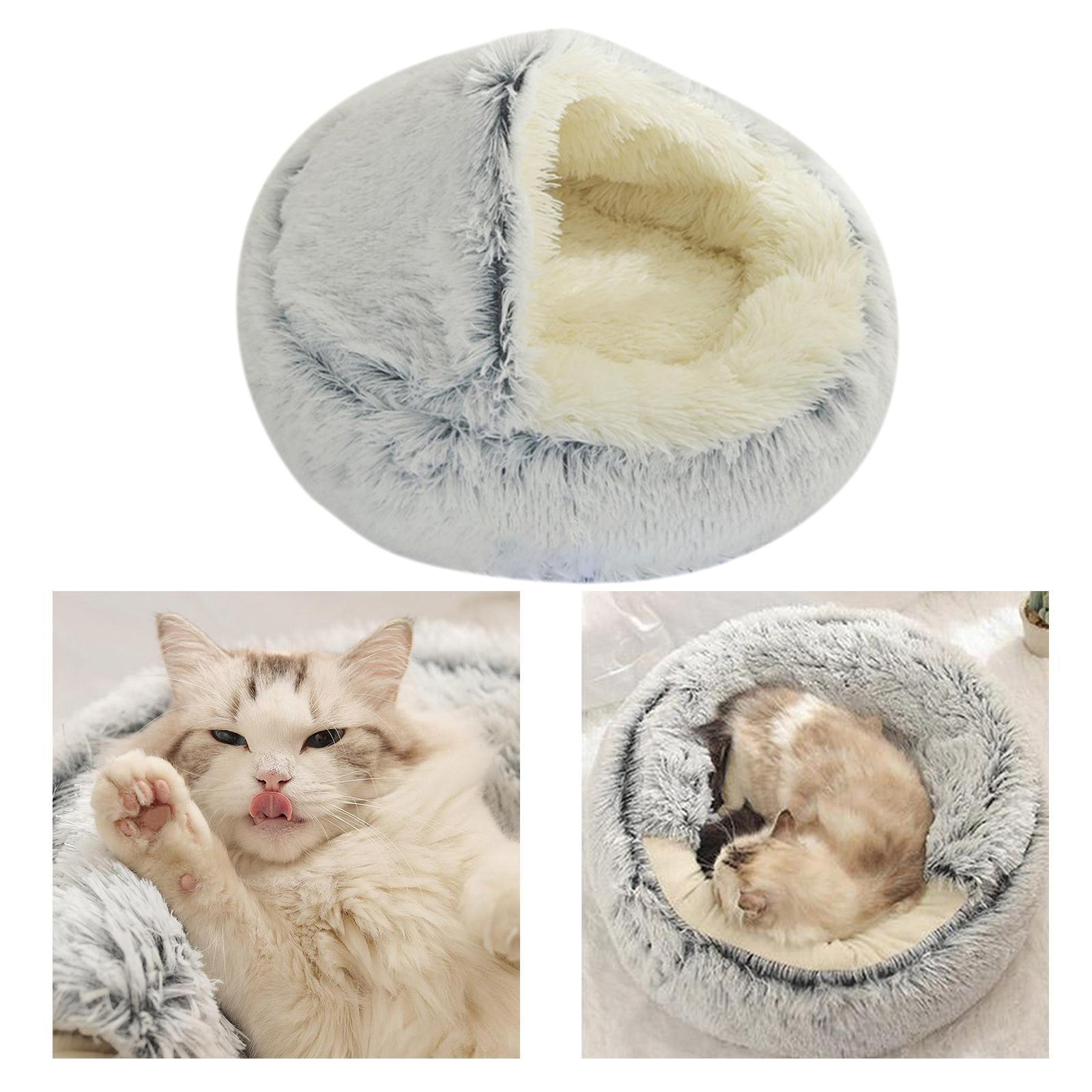 miniature 61 - Pet Chien Chat Calmant Lit Rond Nid Chaud En Peluche Confortable de Couchage