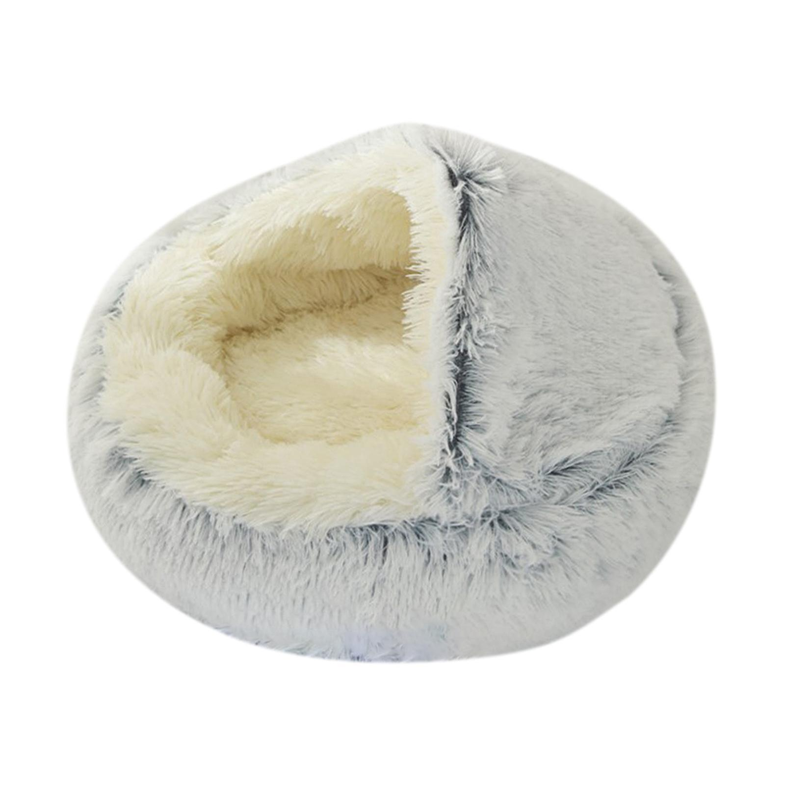 thumbnail 52 - Plush Pet Dog Cat Bed Fluffy Soft Warm Calming Bed Sleeping Kennel Cave Nest