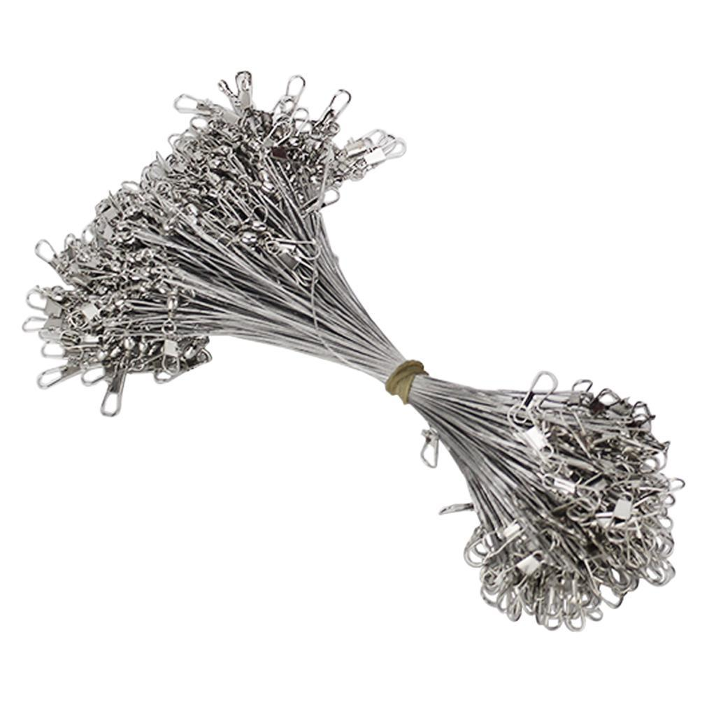 100pcs Carbon Steel Wire Leader for Fishing with Swivels and Snaps 15cm 20cm