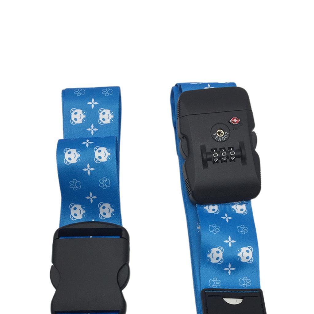 miniatura 3 - 2x Cinghie per bagagli da viaggio regolabili Cinture per valigie con lucchetto a