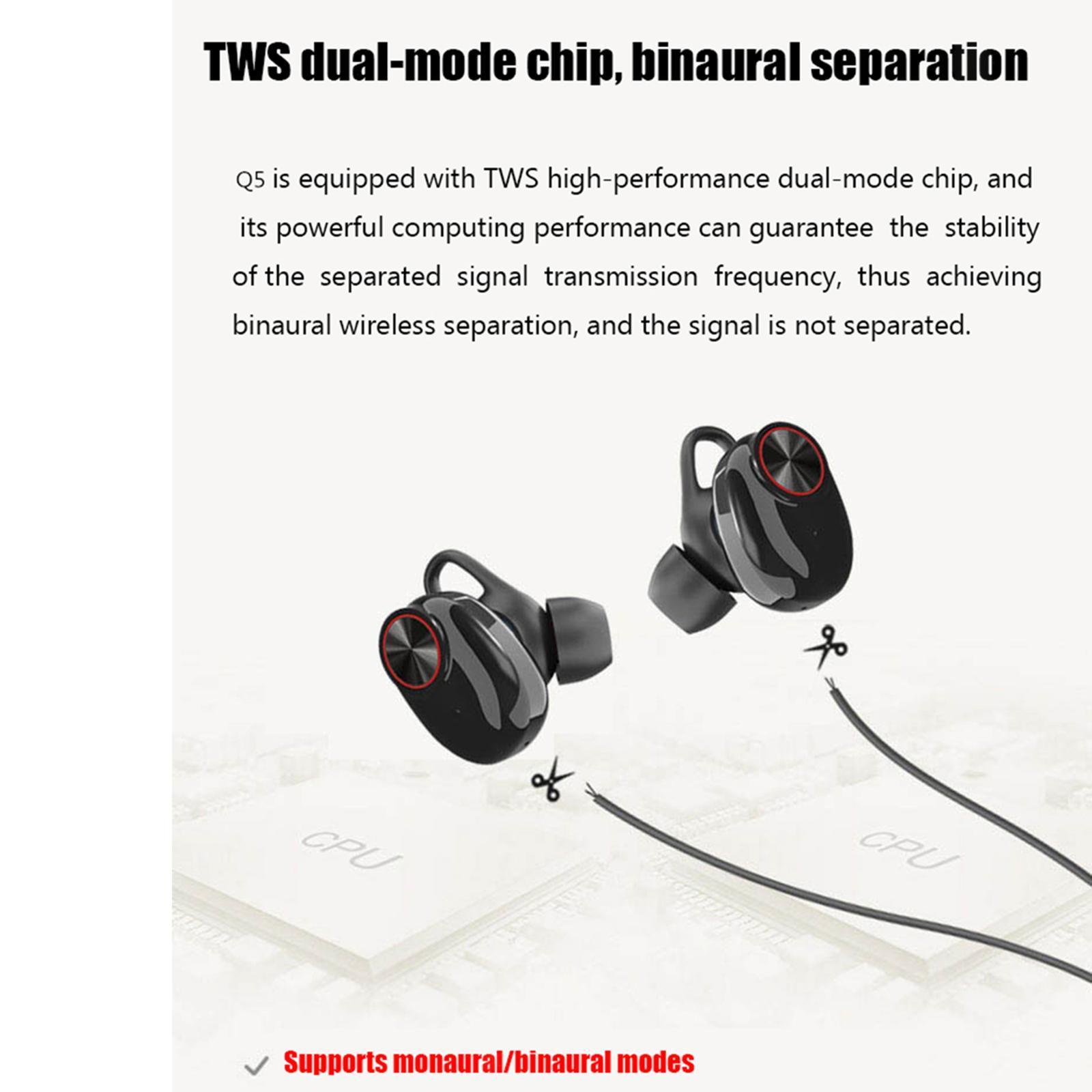 Mini-V5-Sport-Ture-Stereo-Senza-Fili-Bluetooth-TWS-Auricolari-Della-Cuffia-con miniatura 14