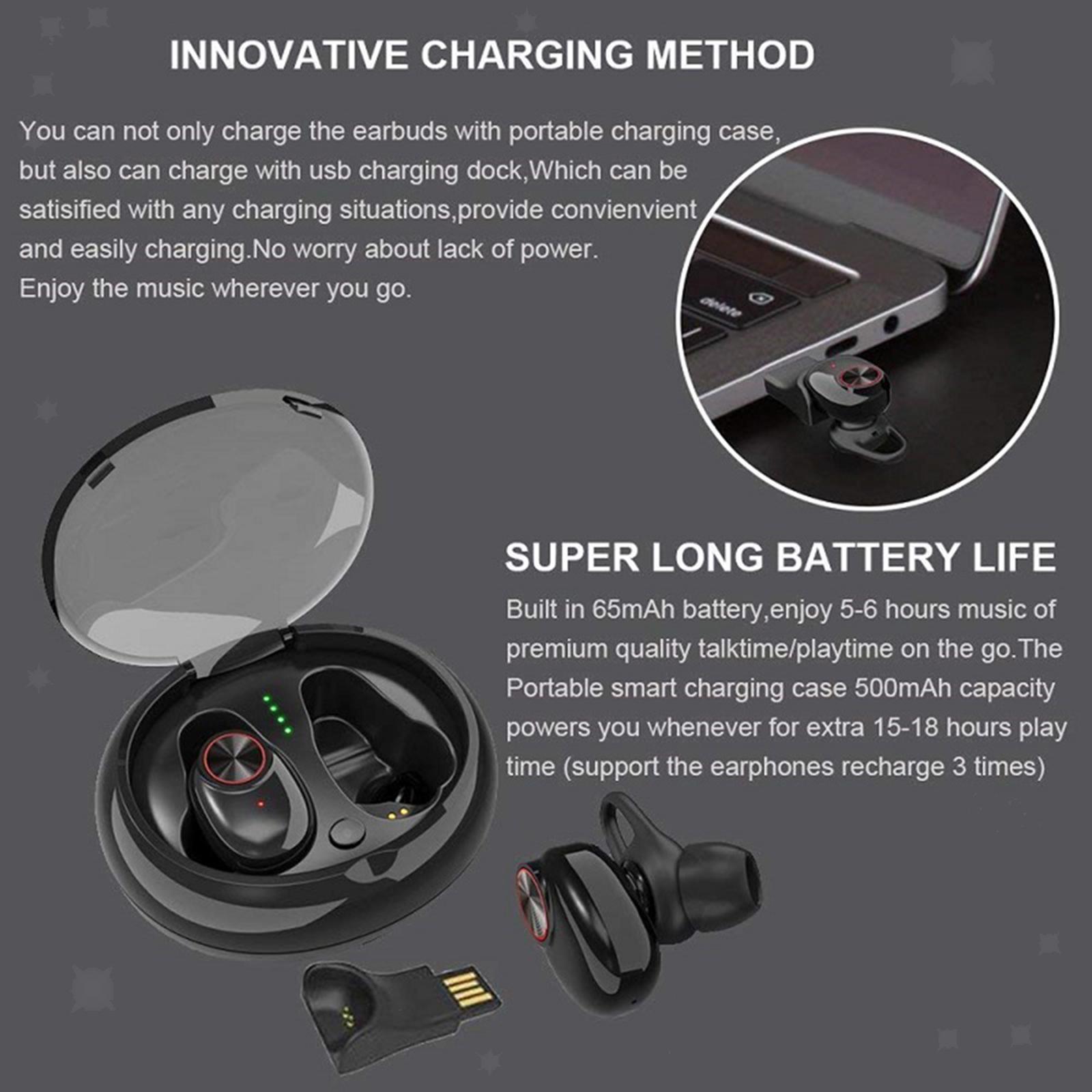Mini-V5-Sport-Ture-Stereo-Senza-Fili-Bluetooth-TWS-Auricolari-Della-Cuffia-con miniatura 10