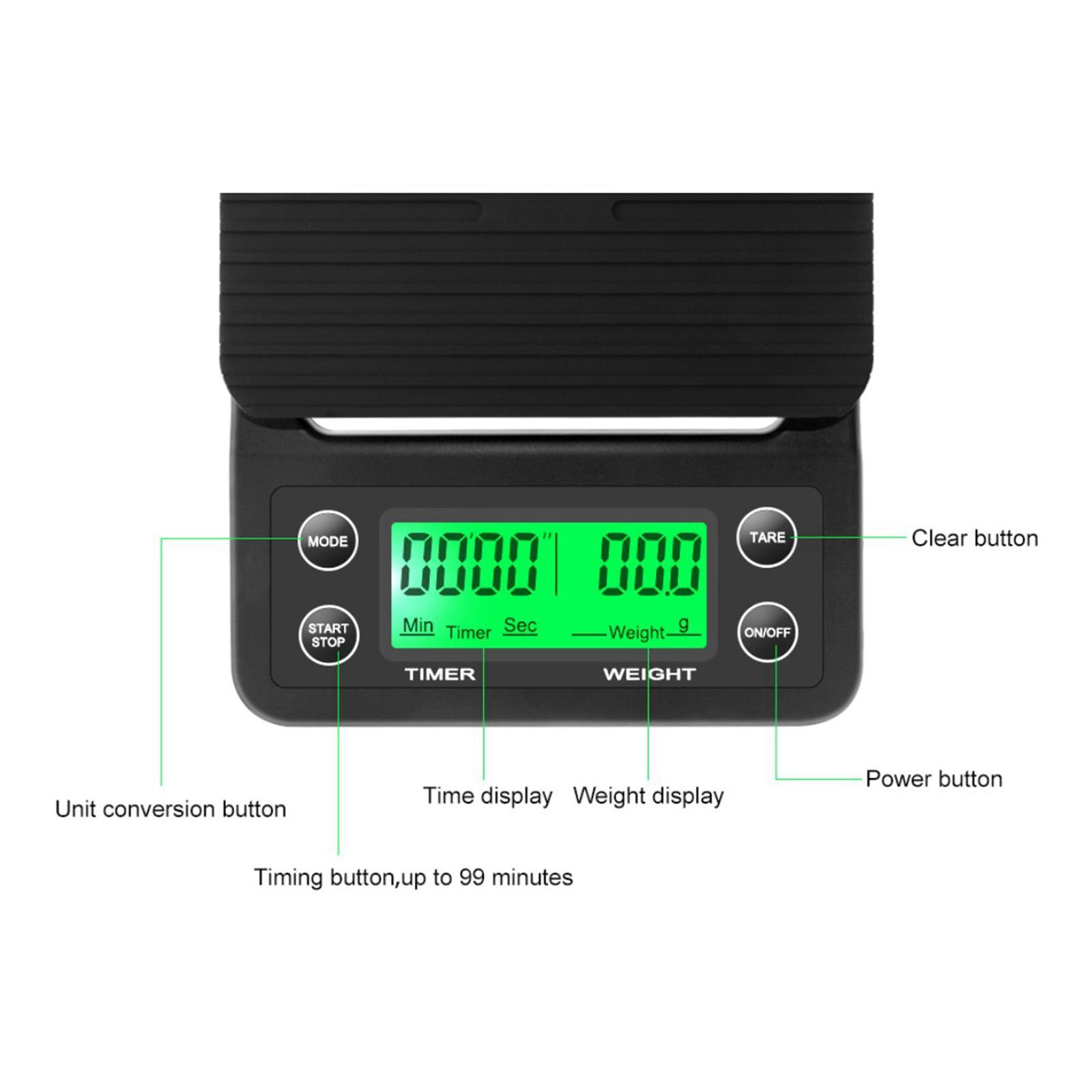 thumbnail 16 - Electronic LCD Digital Kitchen Food Scale Drip Coffee Weighing with Timer(Green)