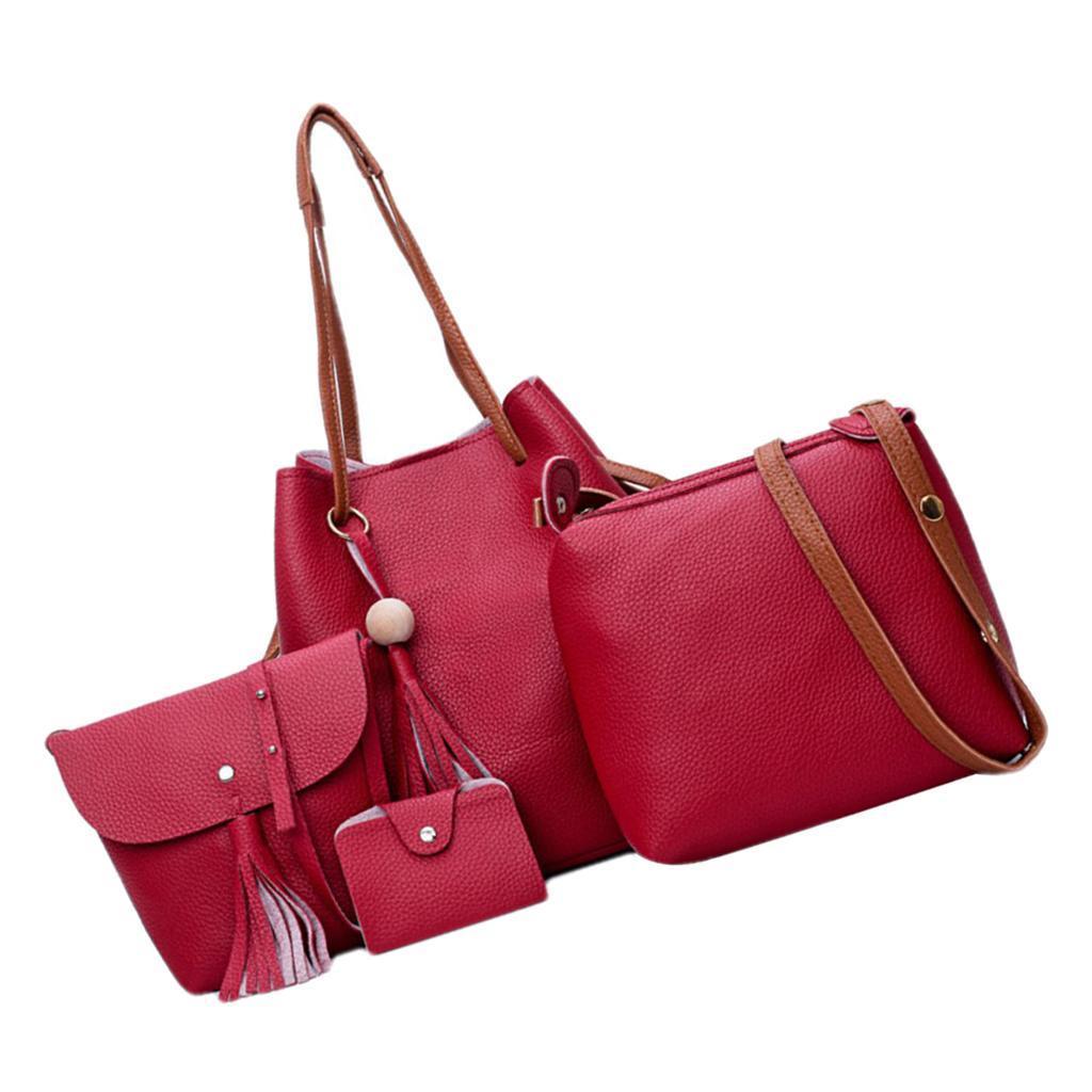 4Damen-Handtasche-mit-Perlenanhaenger-Elegant-Taschen-Shopper-Schultertasche Indexbild 3