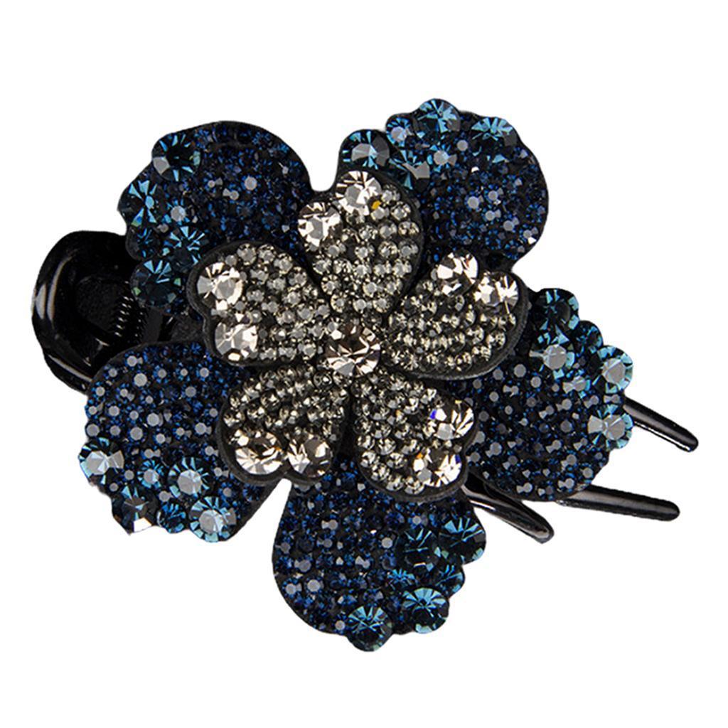 Damen Blumen Diamante Kristall Kunststoff Entenschnabel Haarspange Klauen Kamm