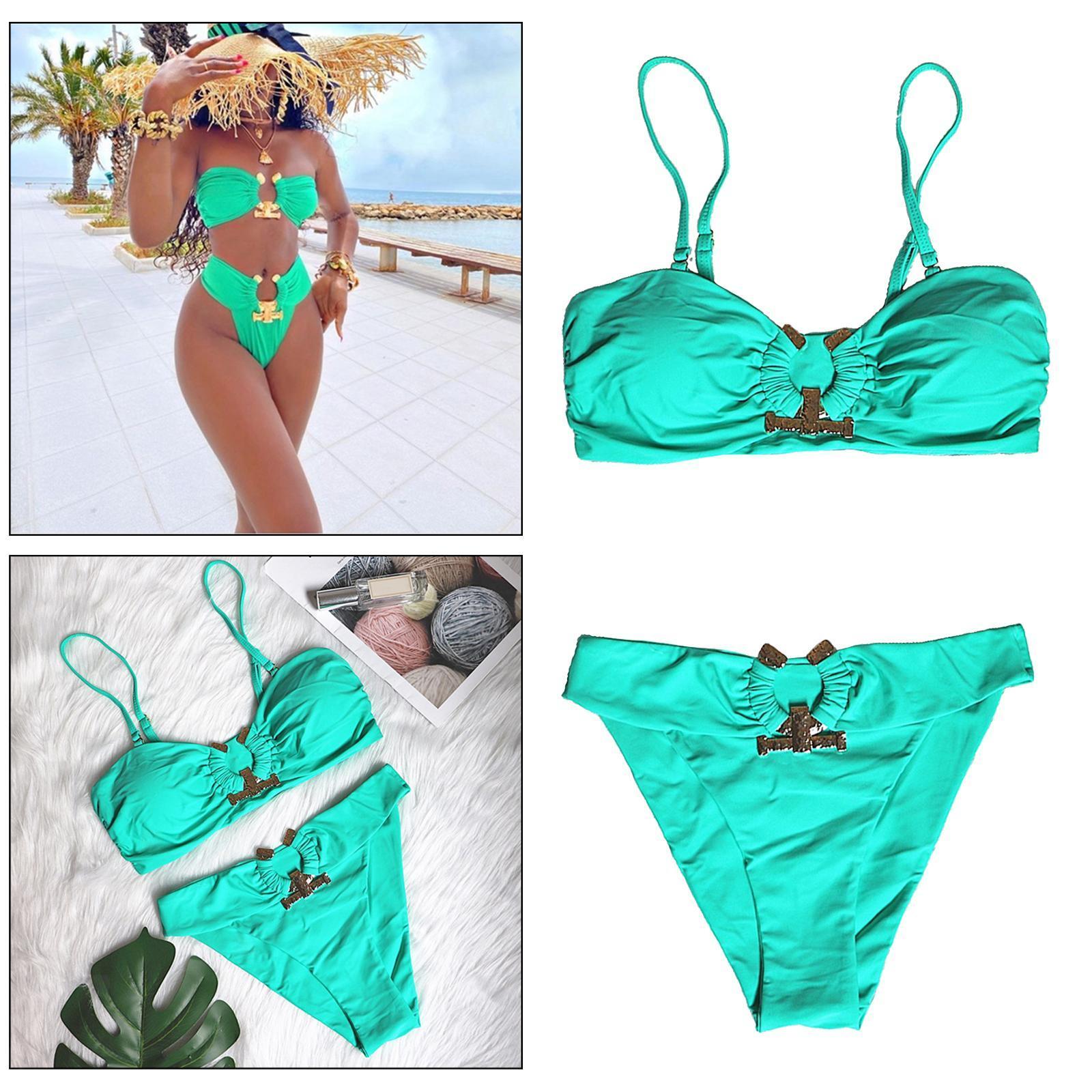 Indexbild 115 - Zwei Stücke Bikini Set Strappy Bademode Party Badeanzug Tankini Bademode