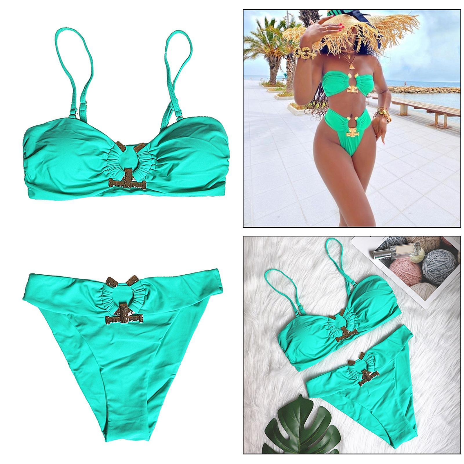 Indexbild 116 - Zwei Stücke Bikini Set Strappy Bademode Party Badeanzug Tankini Bademode