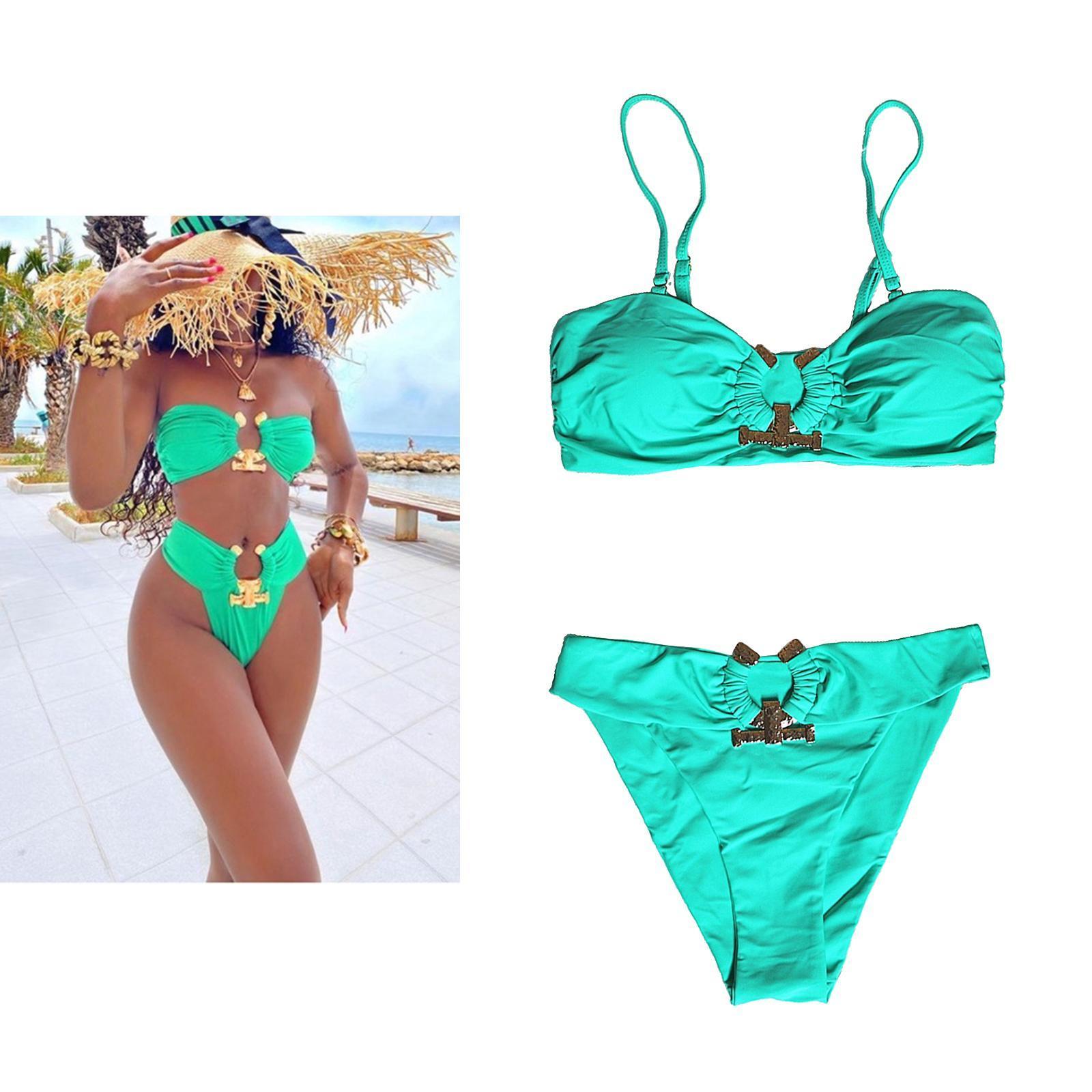 Indexbild 121 - Zwei Stücke Bikini Set Strappy Bademode Party Badeanzug Tankini Bademode