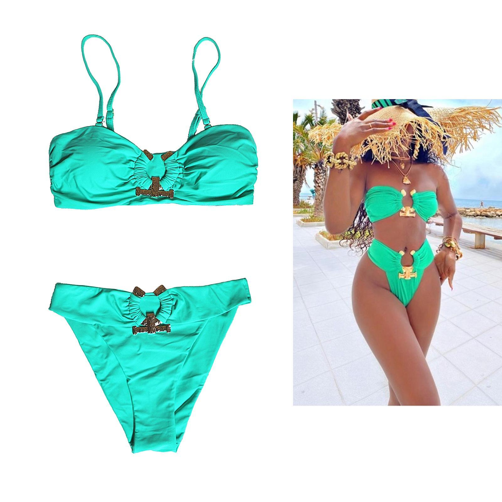 Indexbild 118 - Zwei Stücke Bikini Set Strappy Bademode Party Badeanzug Tankini Bademode