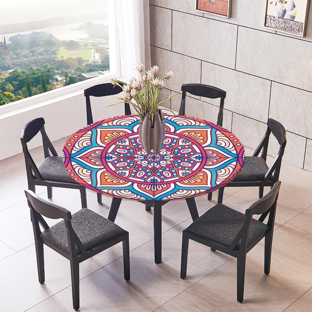 Large-Elastic-Edge-Fitted-Round-Table-Cover-Waterproof-Tablecloth-Lotus-47-034 thumbnail 6
