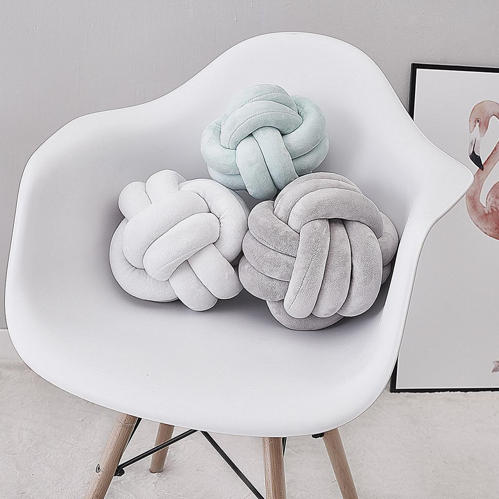 Knot Pillow Hand-woven Sofa Throw Pillow Soft Cushion for Living Room 18cm