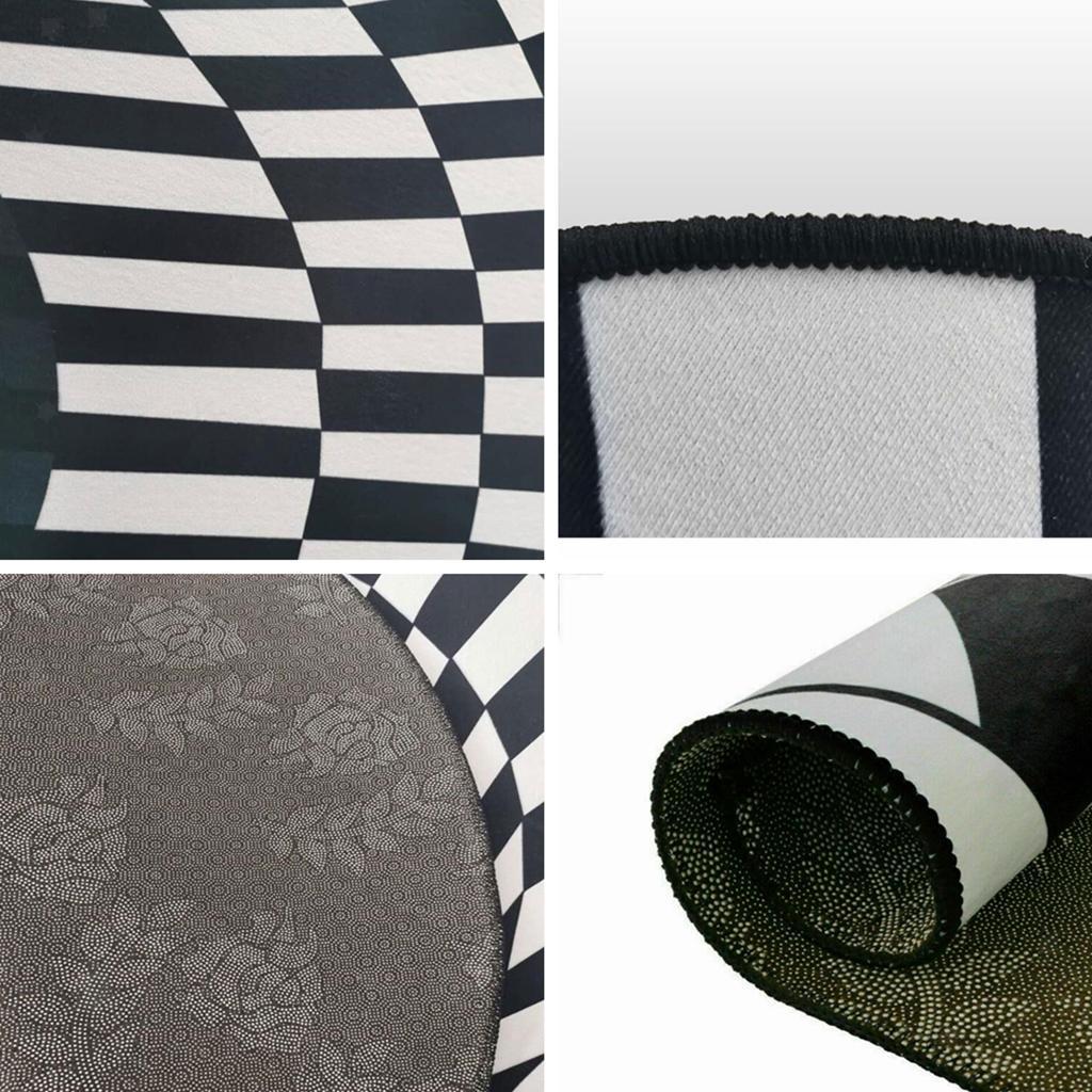 Nero-Bianco-Griglia-Tappeto-3D-Illusion-Vortice-Camera-Da-Letto-Anti-Pavimento miniatura 4