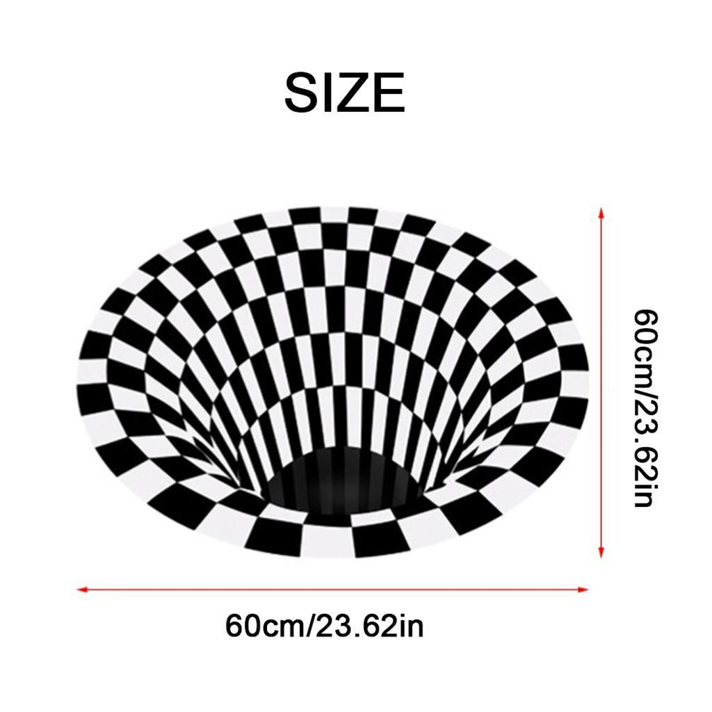 Tappeto-rotondo-nero-a-griglia-bianca-Tappetino-a-vortice-3D-con-illusione miniatura 3