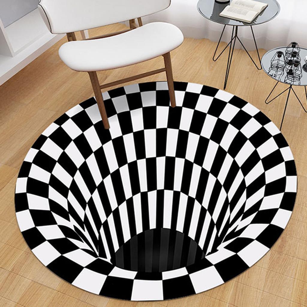 Nero-Bianco-Griglia-Tappeto-3D-Illusion-Vortice-Camera-Da-Letto-Anti-Pavimento miniatura 3