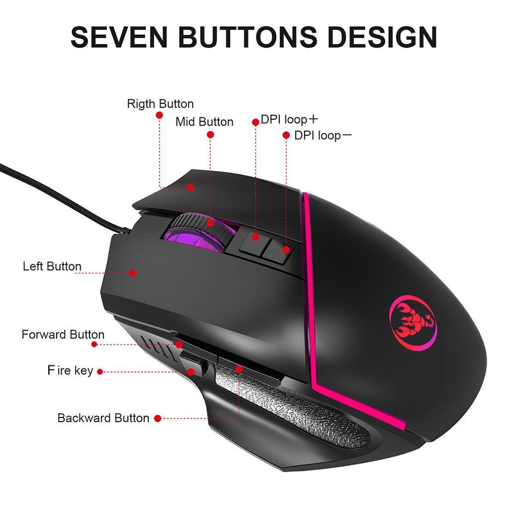 Mini-clavier-de-jeu-a-une-main-souris-Combo-USB-jeu-filaire-35-touches miniature 6
