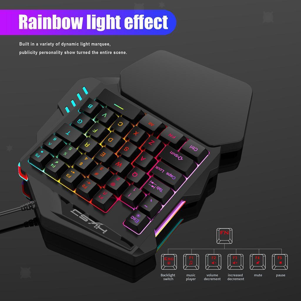 Mini-clavier-de-jeu-a-une-main-souris-Combo-USB-jeu-filaire-35-touches miniature 7