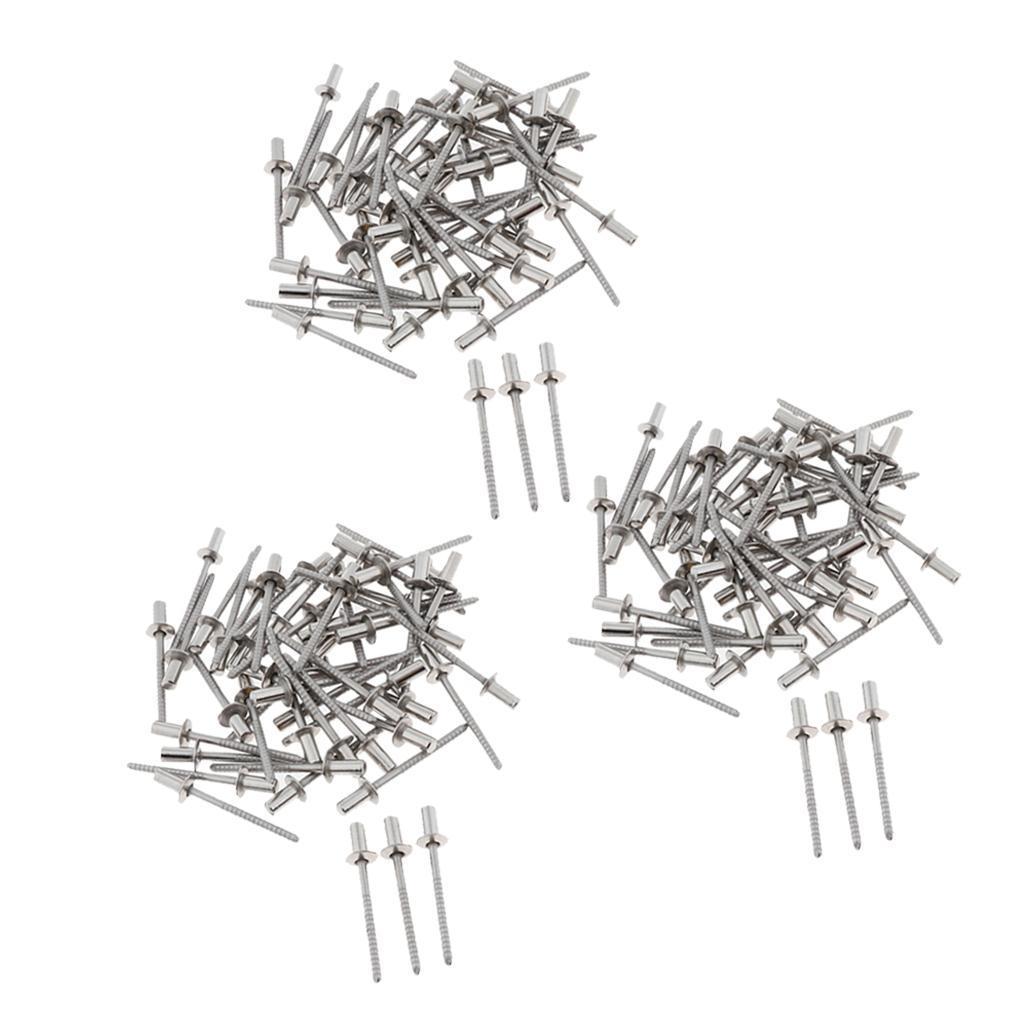 miniature 3 - Kit d'assortiment de rivets en acier inoxydable Rivets aveugles 3mm-6.4mm 10/50