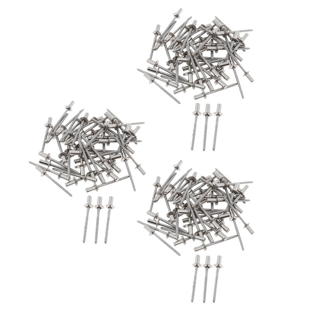 miniature 4 - Kit d'assortiment de rivets en acier inoxydable Rivets aveugles 3mm-6.4mm 10/50