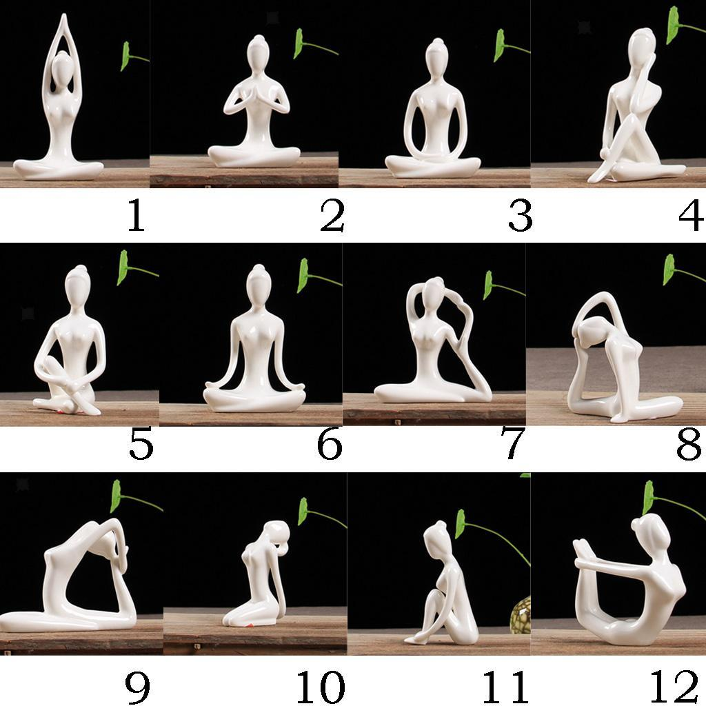 Ceramic-Yoga-Figurine-Statue-Collections-Craft-Gift-Home-Zen-Garden-Decor thumbnail 3