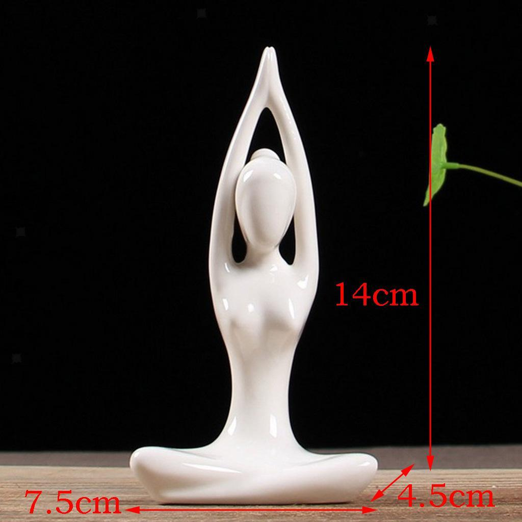 Ceramic-Yoga-Figurine-Statue-Collections-Craft-Gift-Home-Zen-Garden-Decor thumbnail 4