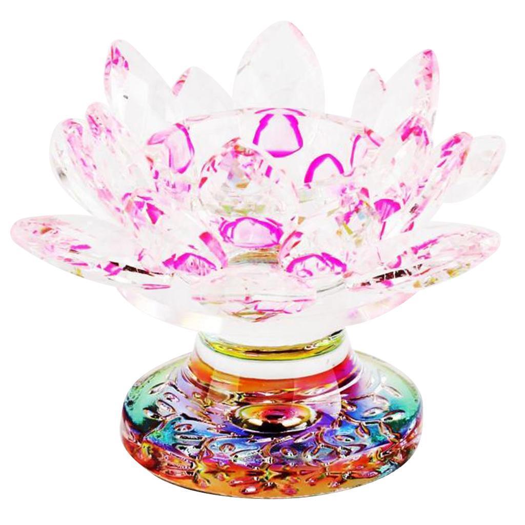 Portacandele in vetro di cristallo a forma di fiore di loto in 7 colori colore YA-Uzeun Bianco
