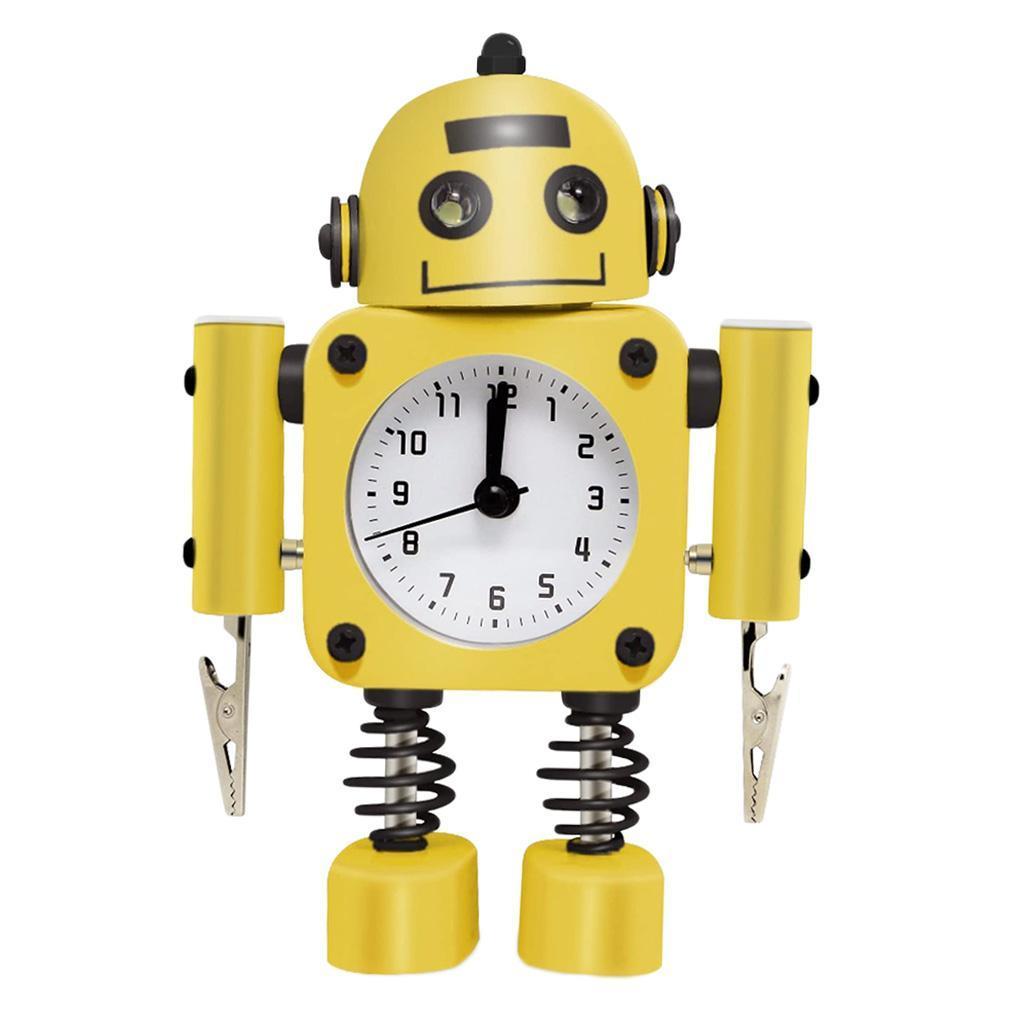 Robot-Del-Fumetto-Non-Ticchettio-Sveglia-Da-Comodino-Camera-Da-Letto-Di-Casa miniatura 3