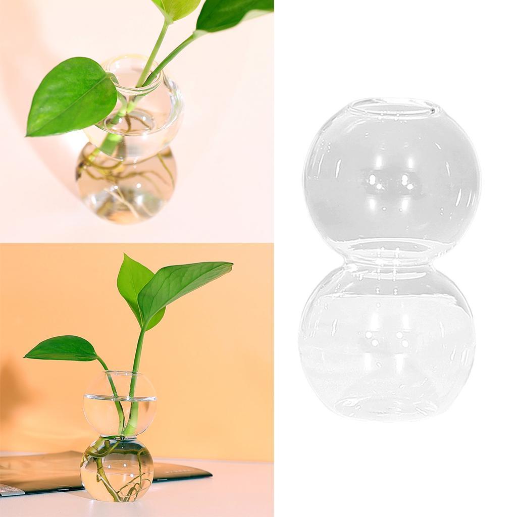 Indexbild 3 - Glasrohr Vase Holzständer Blumentöpfe Hydroponik Pflanze   Dekoration
