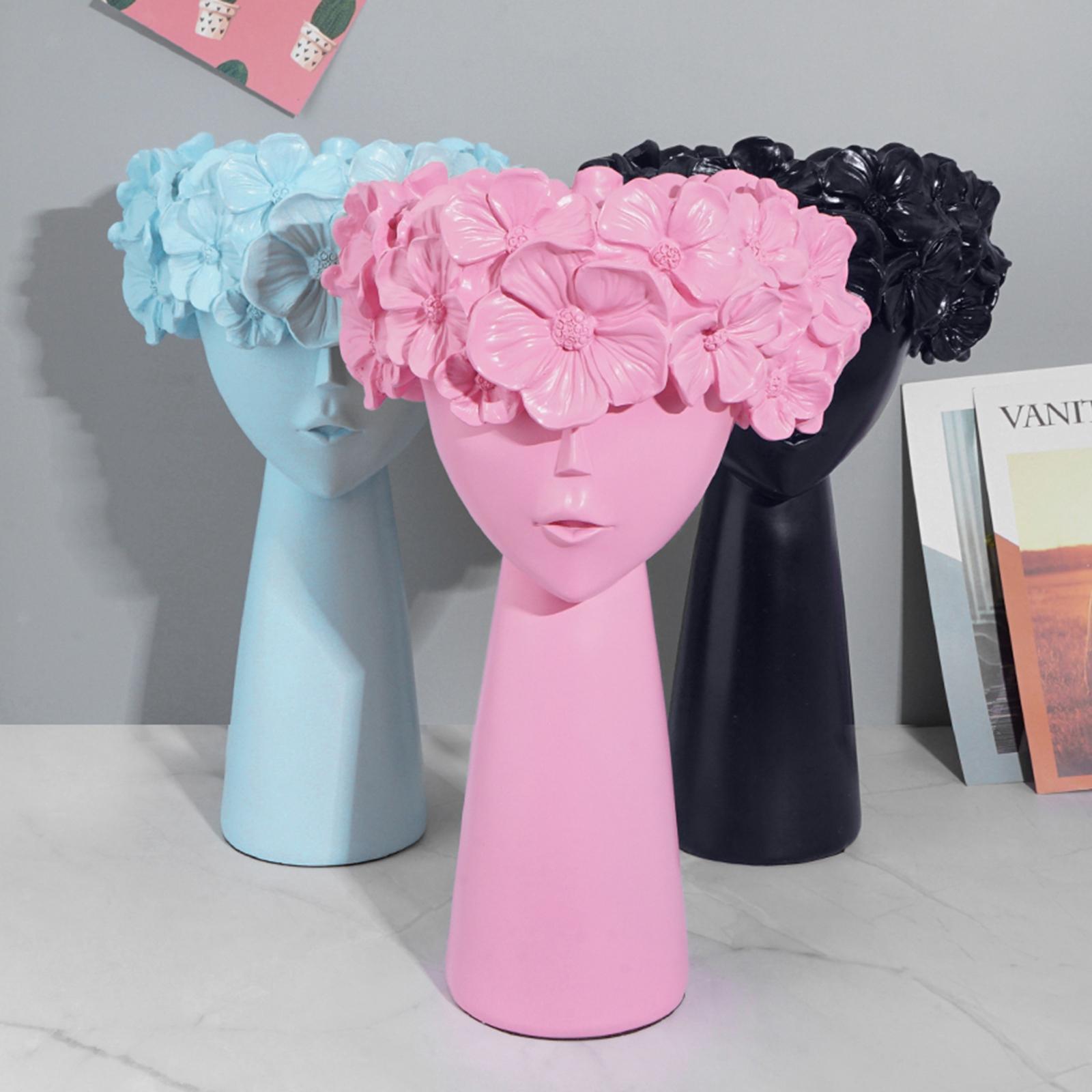 Animal Head Shape Dry Flower Vase Planter Pot Resin