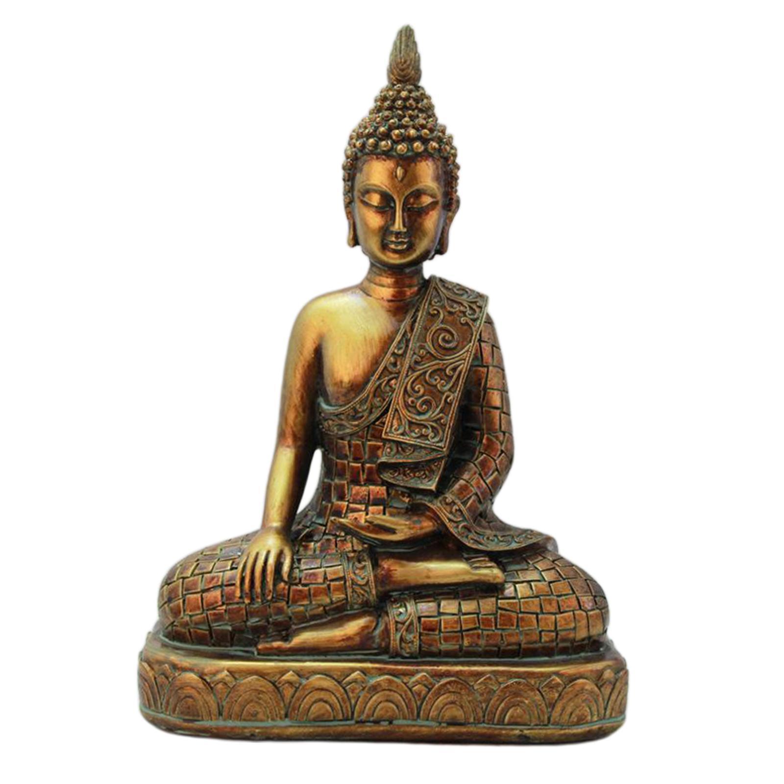 miniatura 6 - Statua di Buddha In Resina Sakyamuni Seduto Buddista Figurine Della