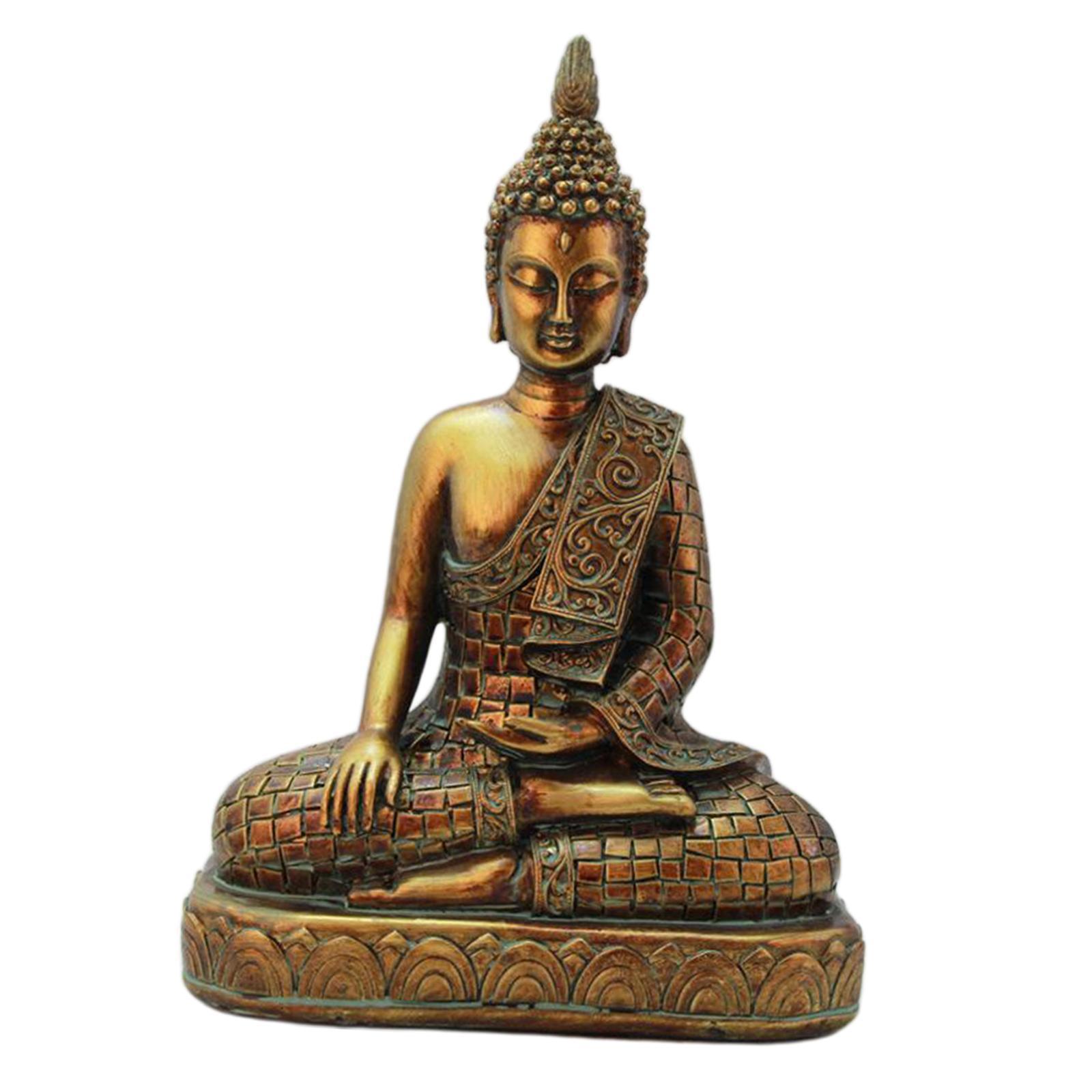 miniatura 10 - Statua di Buddha In Resina Sakyamuni Seduto Buddista Figurine Della