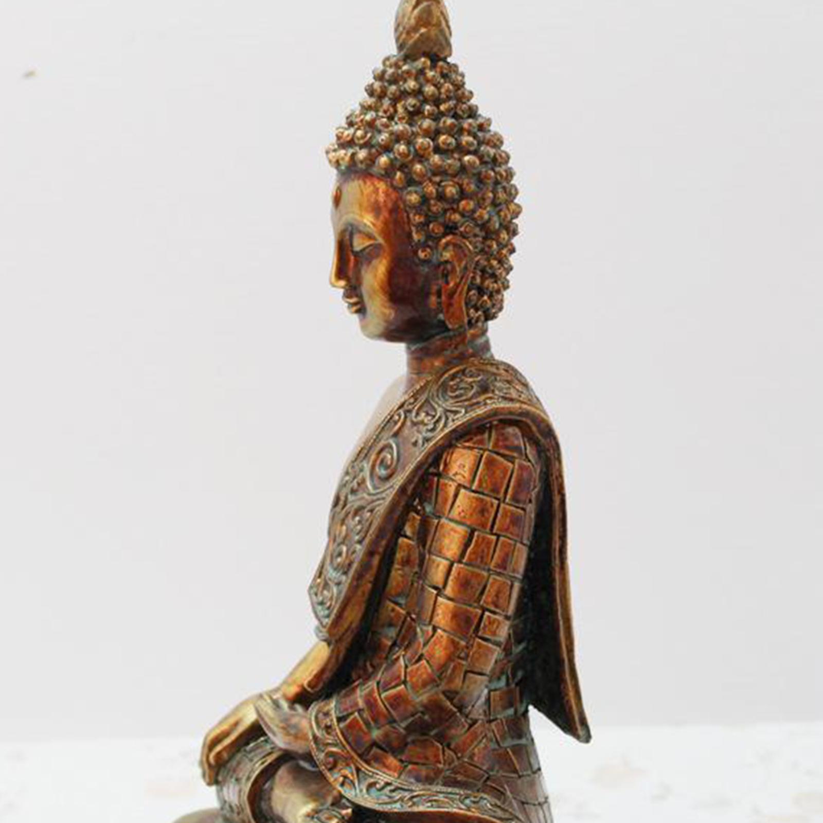 miniatura 5 - Statua di Buddha In Resina Sakyamuni Seduto Buddista Figurine Della